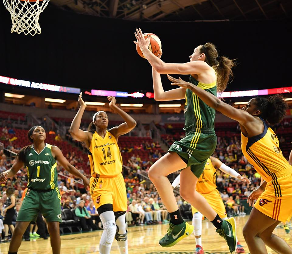 Breanna Stewart goes for two of her game high 32 points against the Indiana Fever.