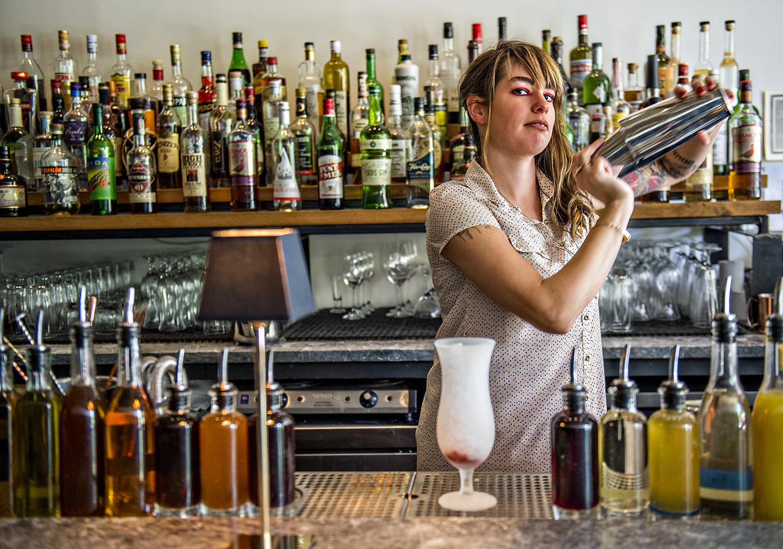 Shanna Mayo behind the bar at Amer.