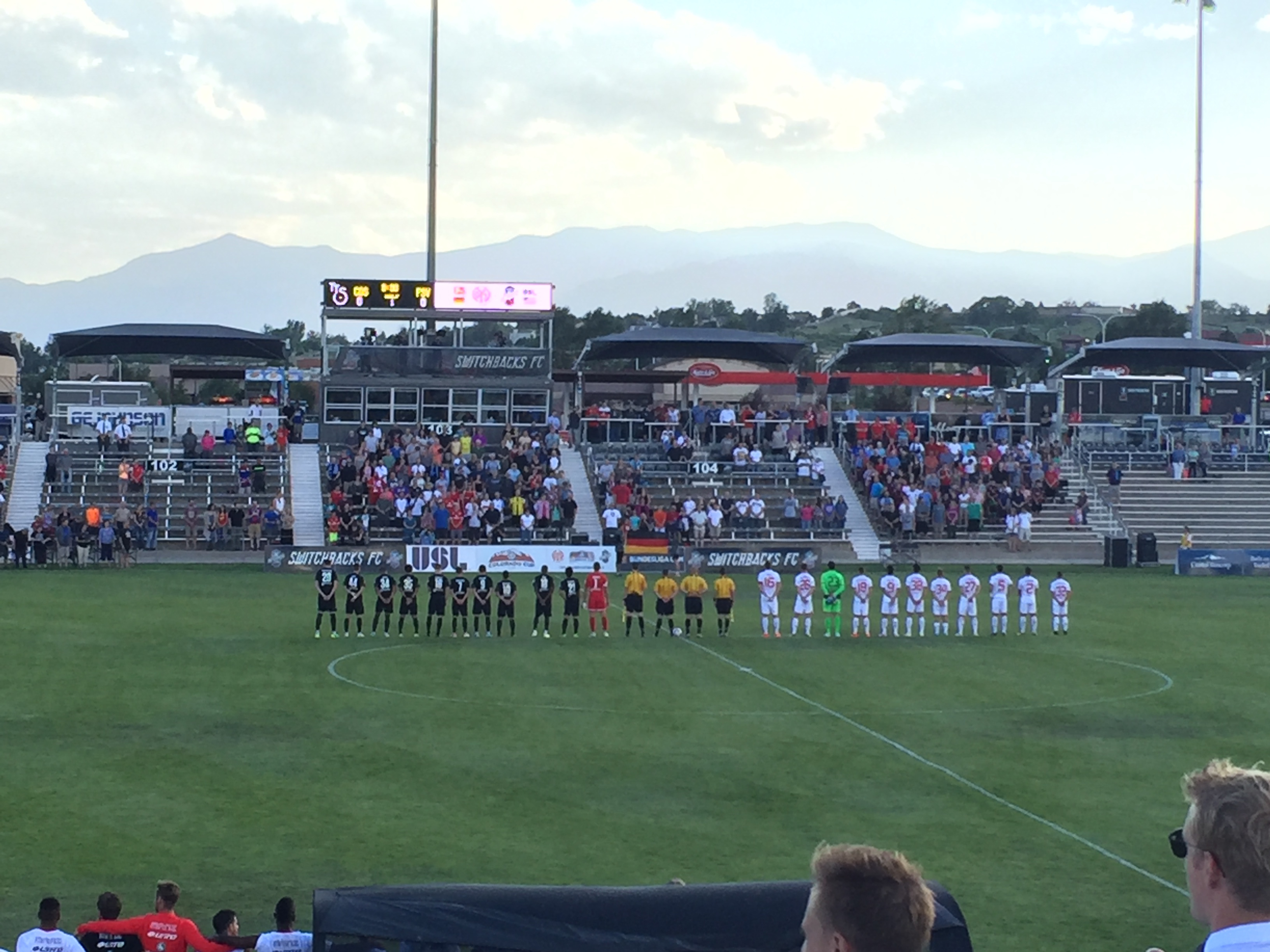 Switchbacks and Mainz stand for Germany's national anthem.