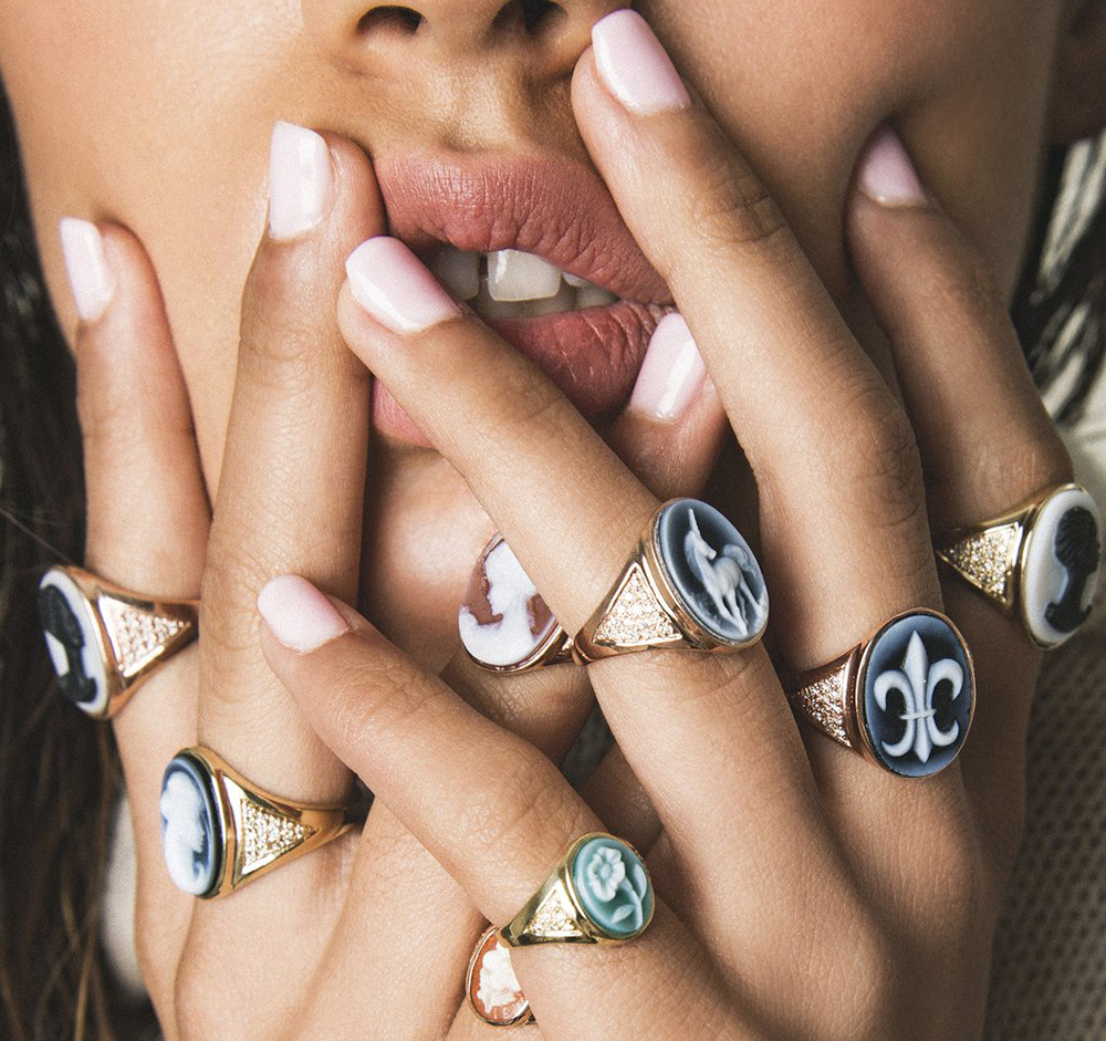 Jacquie Aiche's bespoke cameo rings