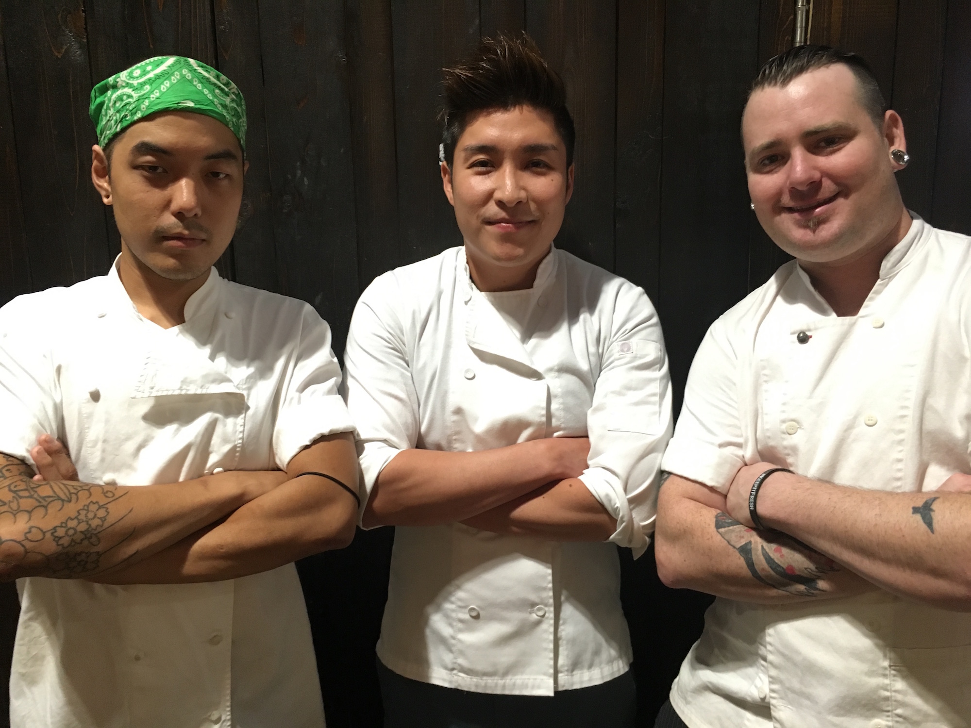 From left: Char sous chef Shaun Byun, consulting chef Jey Oh, and executive chef Ryan Catherall.