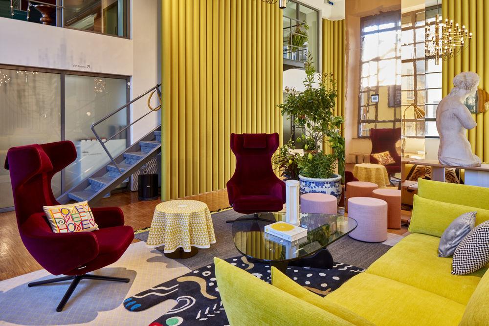 Jewel toned living room designed for Vitra by Hella Jongerius