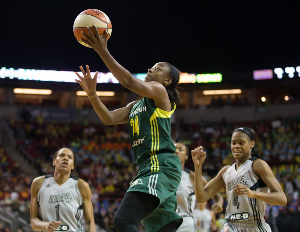 Jewell Loyd attacks the basket as she leads the Storm past the Stars.