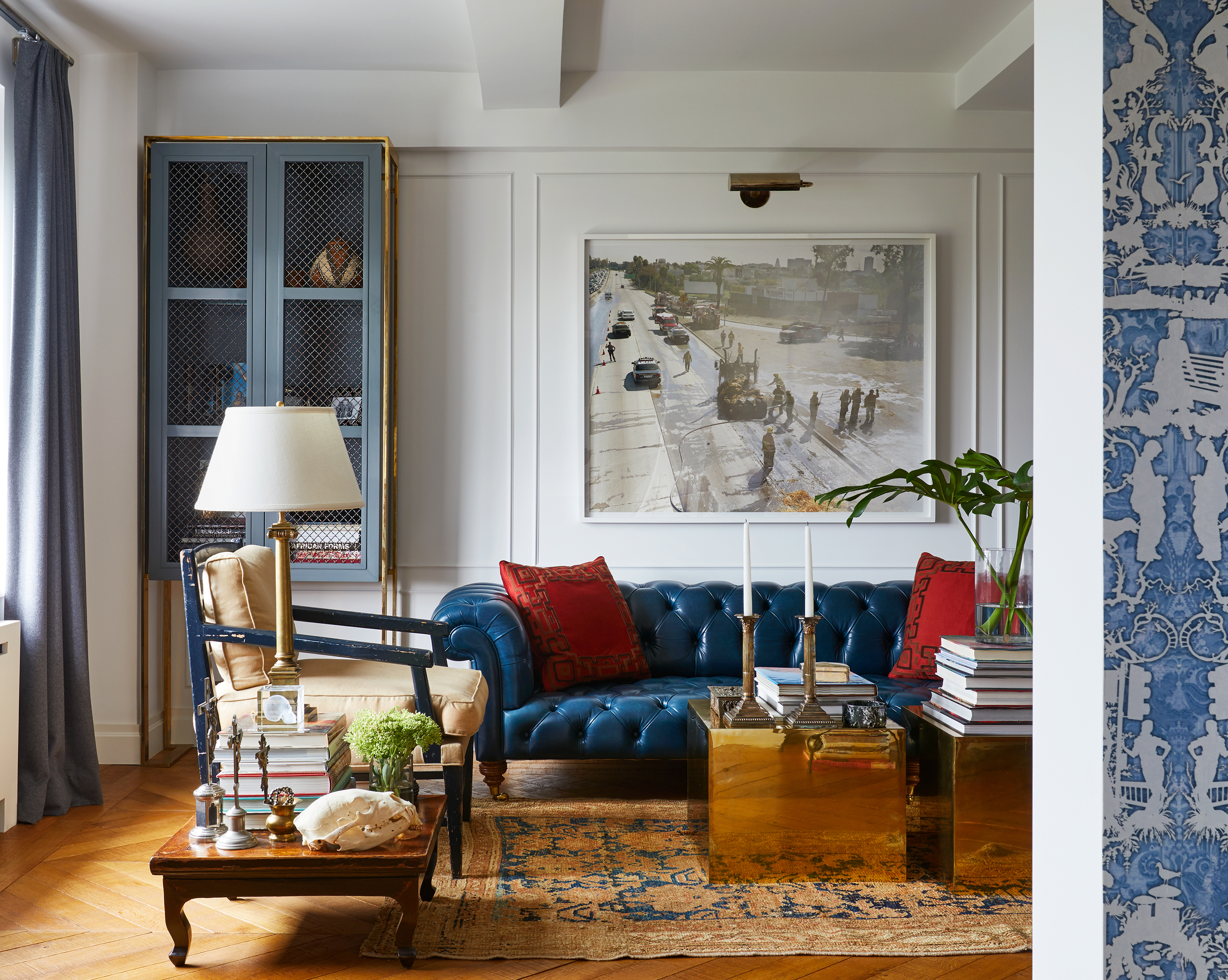 apartment with blue sofa
