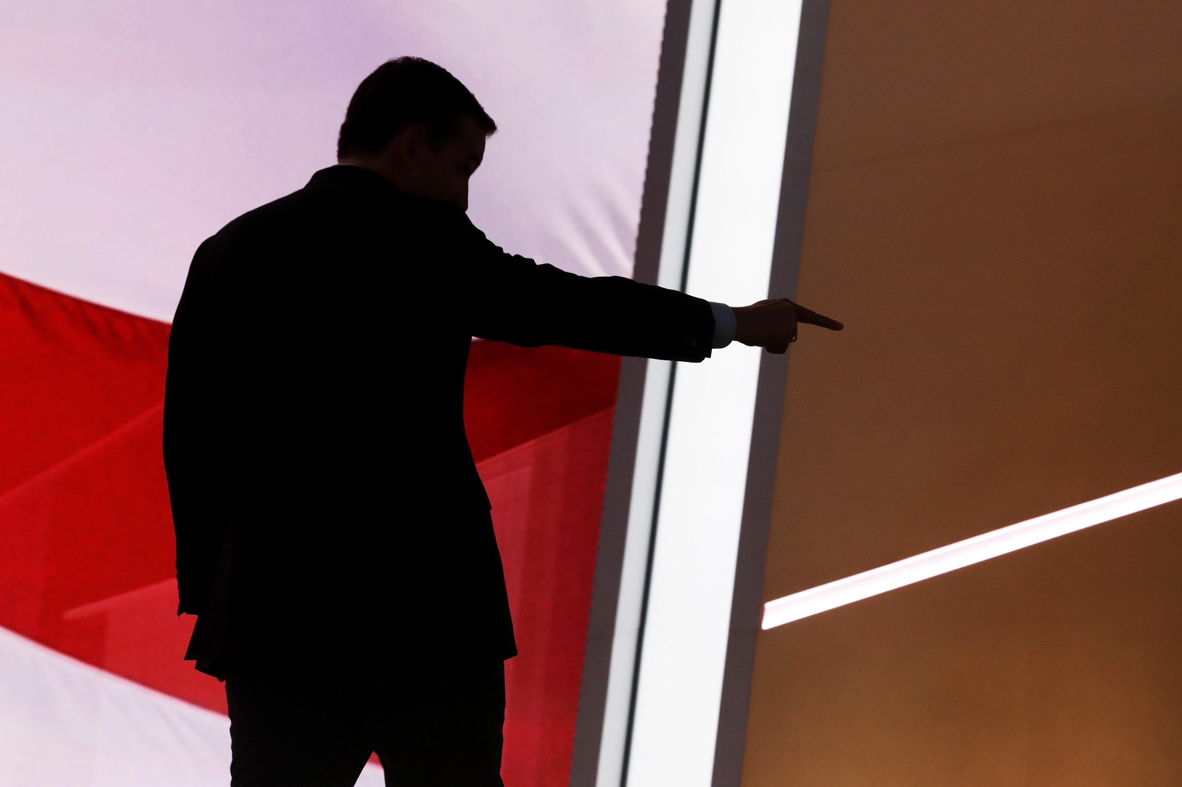 Sen. Ted Cruz (R-TX) gestures as he walks offstage after delivering a speech on the third day of the Republican National Convention.