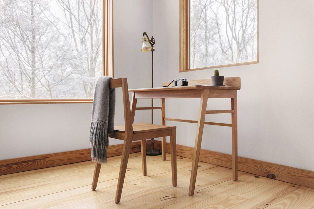 solid white oak chair and reader desk