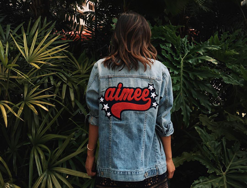 Blogger Aimee Song wearing denim jacket