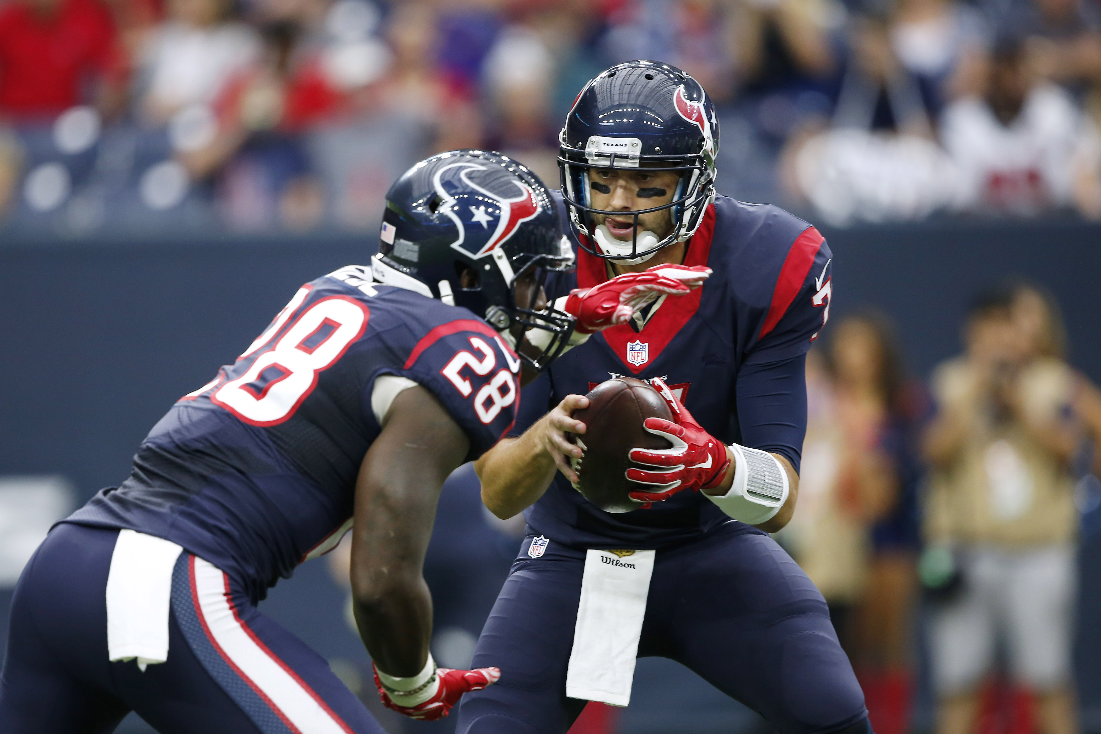 Fortunately, Brian Hoyer won't be handing the ball off to anyone in a Texans jersey this year.