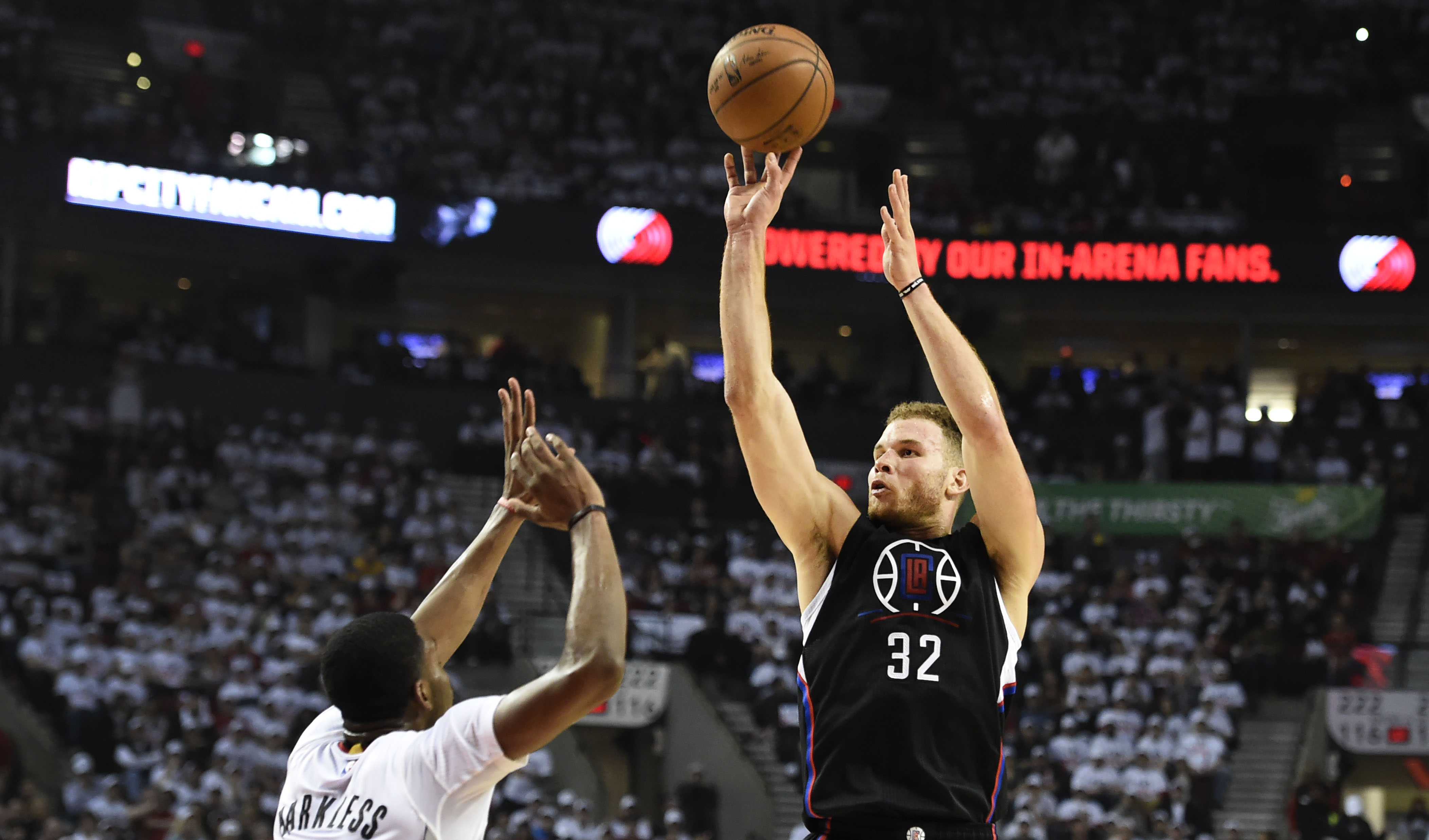 LA Clippers' Blake Griffin shoots over Portland Trail Blazers' Maurice Harkless