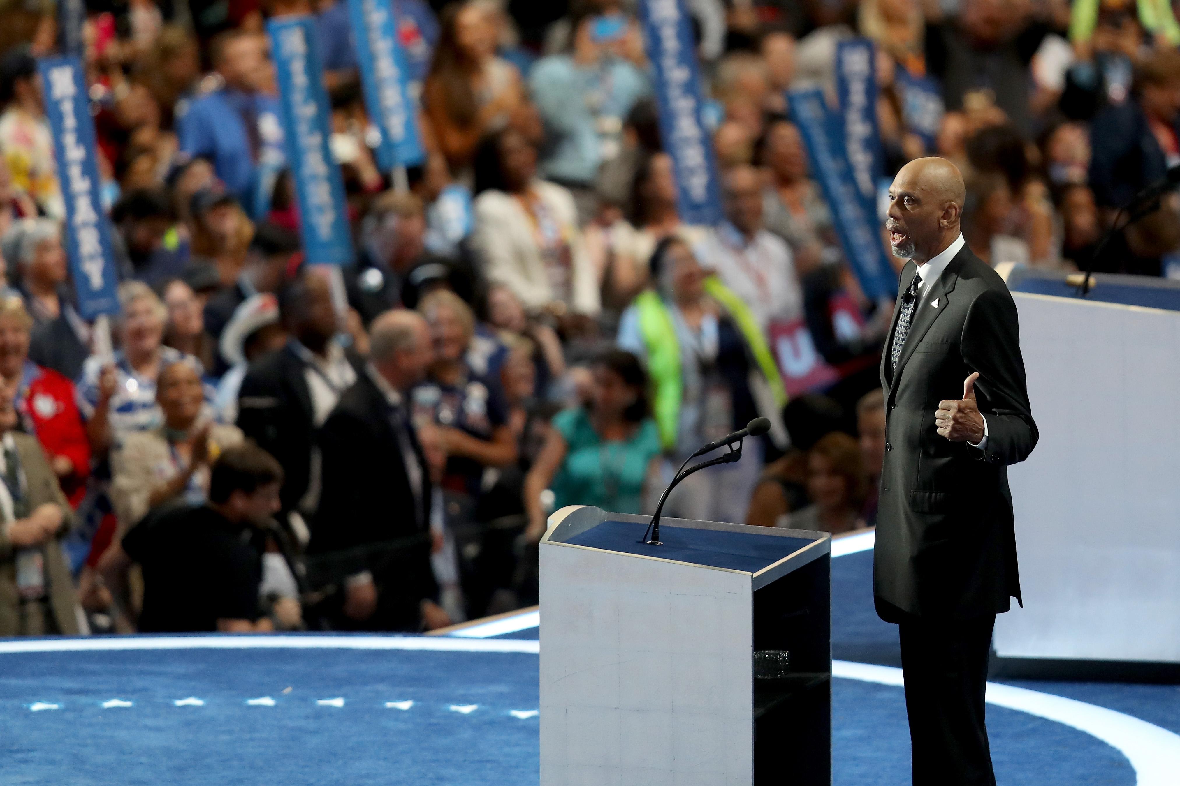 Kareem Abdul-Jabbar at the Democratic convention.