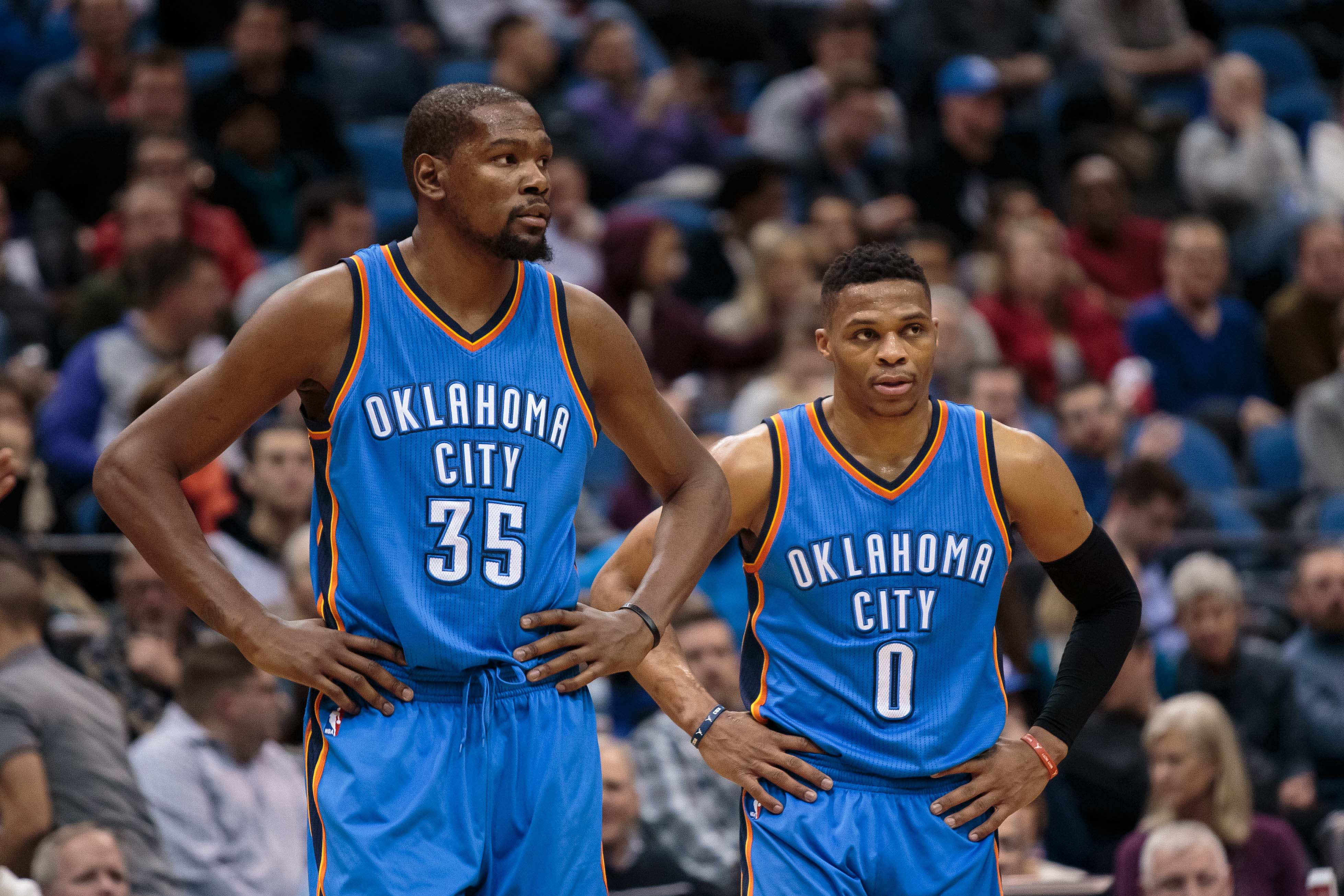 Kevin Durant shoots down the rumor that he told Russell Westbrook he was staying with the Thunder