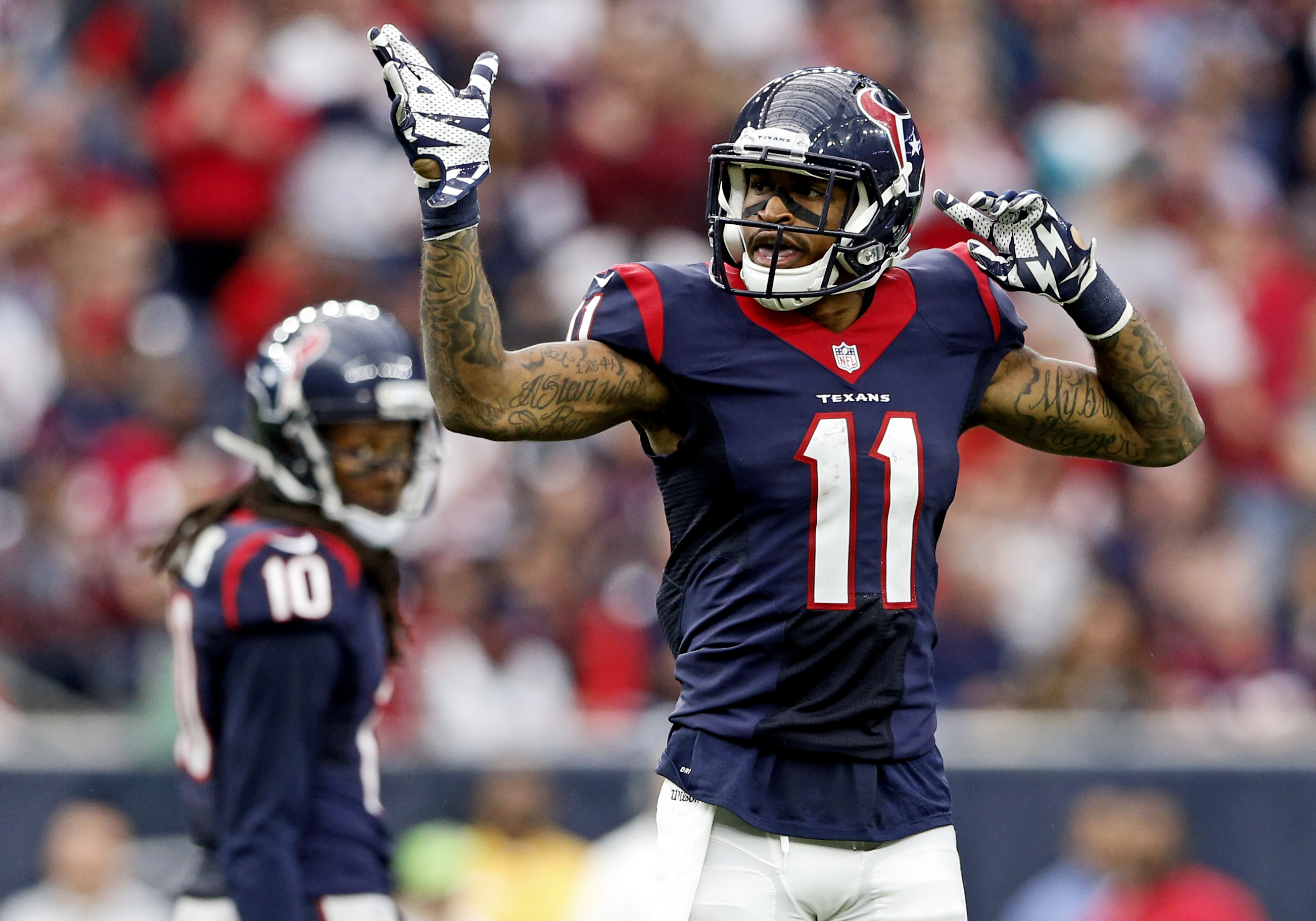 Jaelen Strong celebrates, something he will be doing much more often this year.