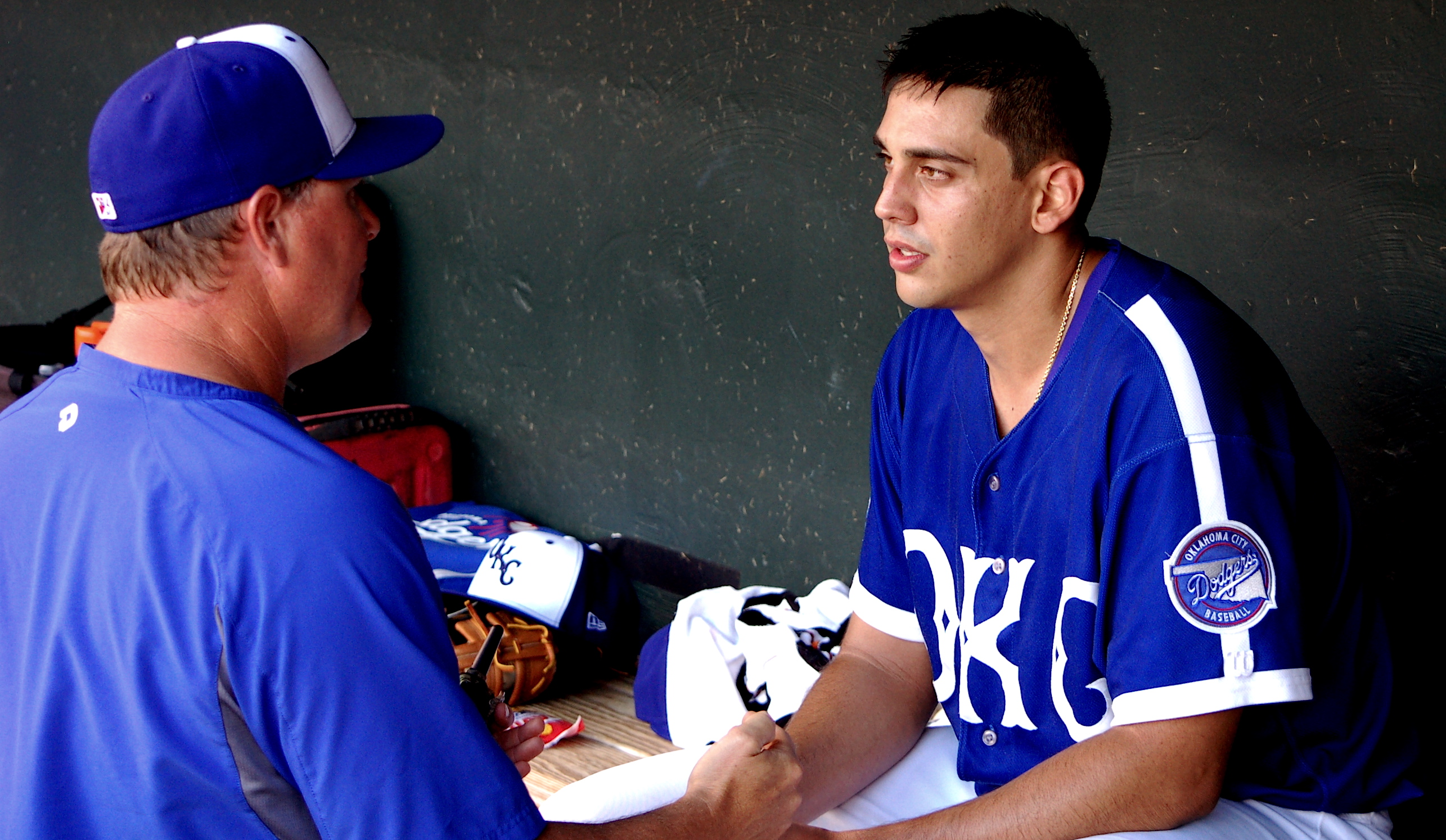 Jose De Leon and pitching coach Matt Herges with Triple-A Oklahoma City.