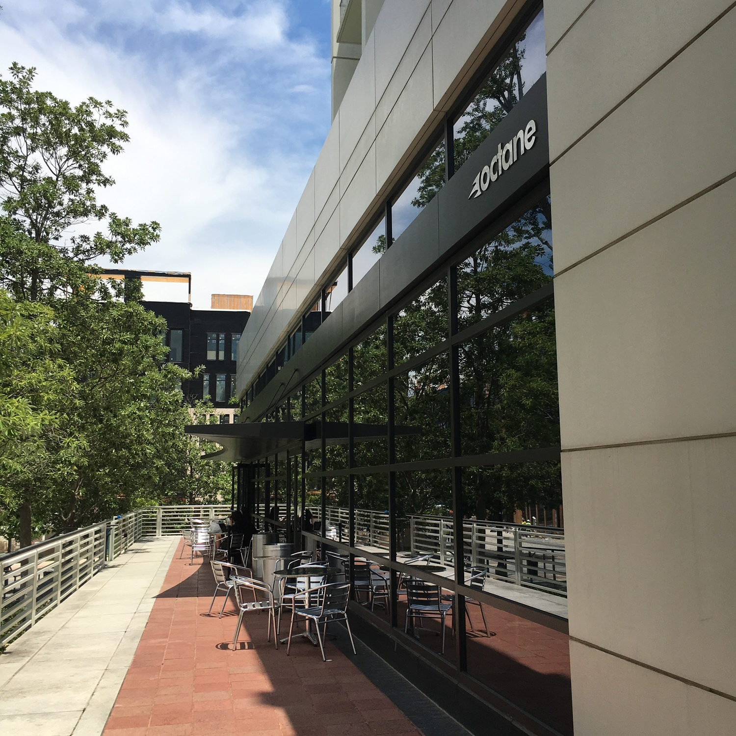 The outdoor patio at Octane Coffee at Woodruff Arts Center.