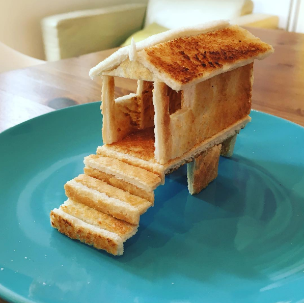 a beach house made out of toast