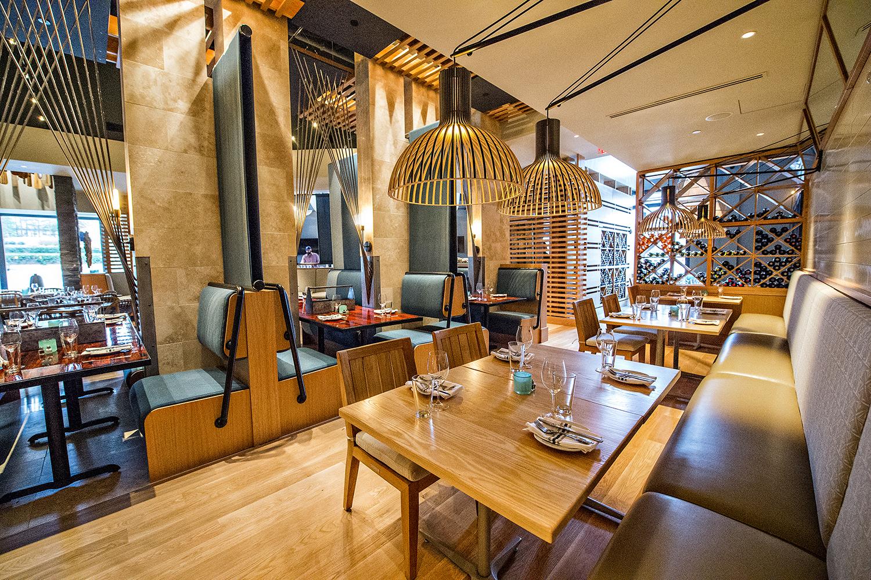 The dining room inside Drift Fish House.