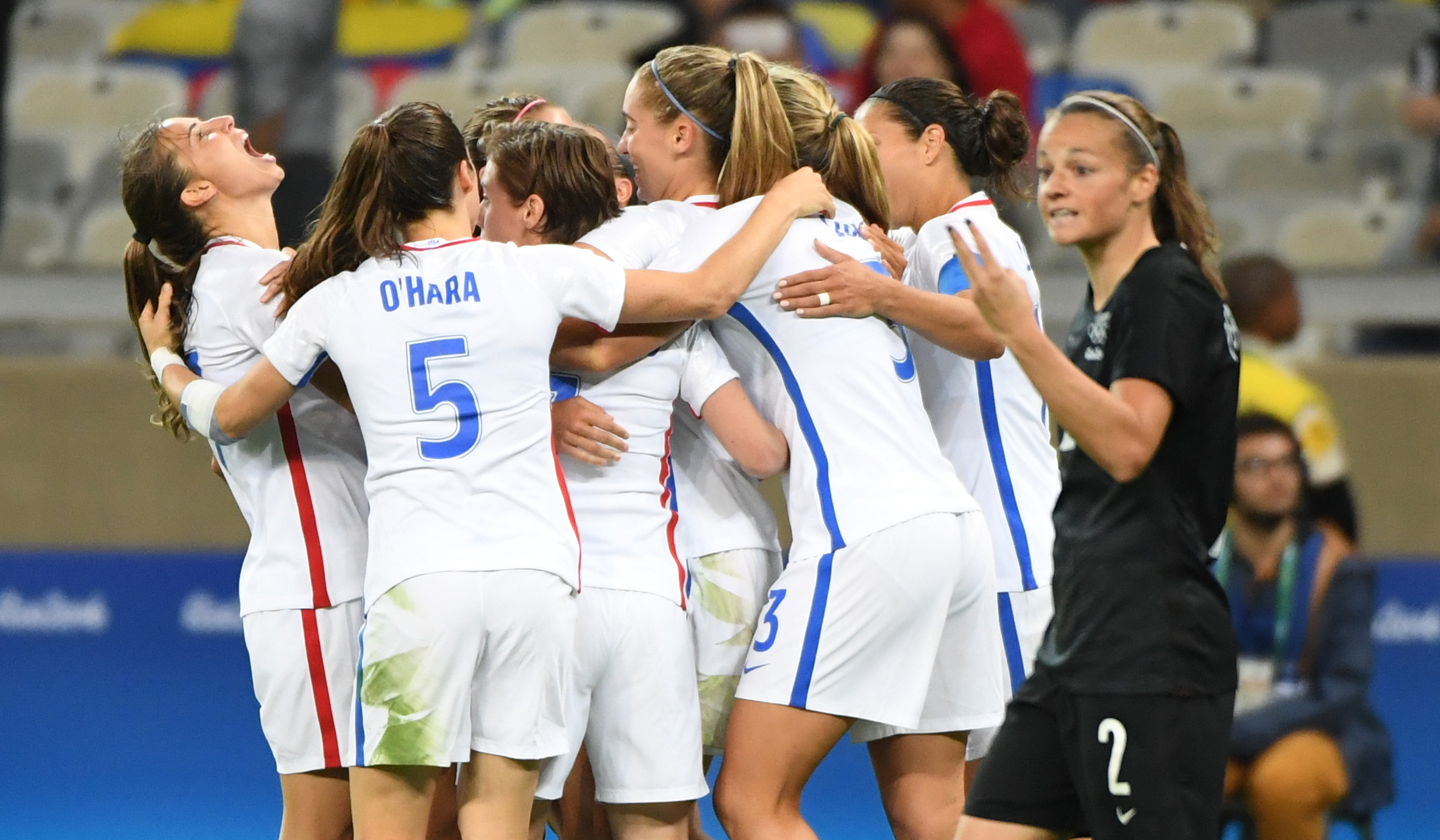 USWNT celebrating Alex Morgan's 46th minute goal that made it 2-0 against New Zealand.