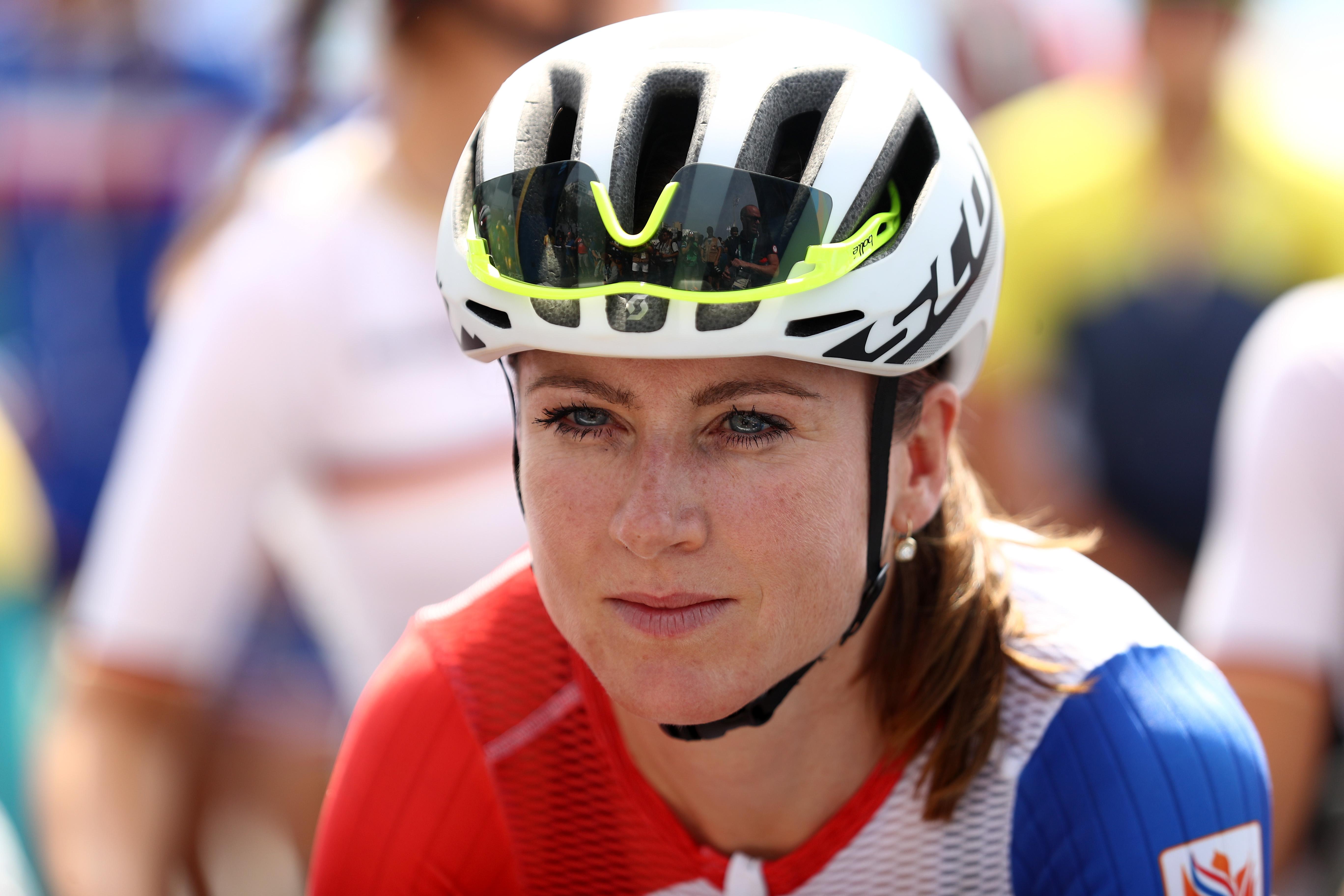 Annemiek van Vleuten prepares for the start of the women's road race in Rio.