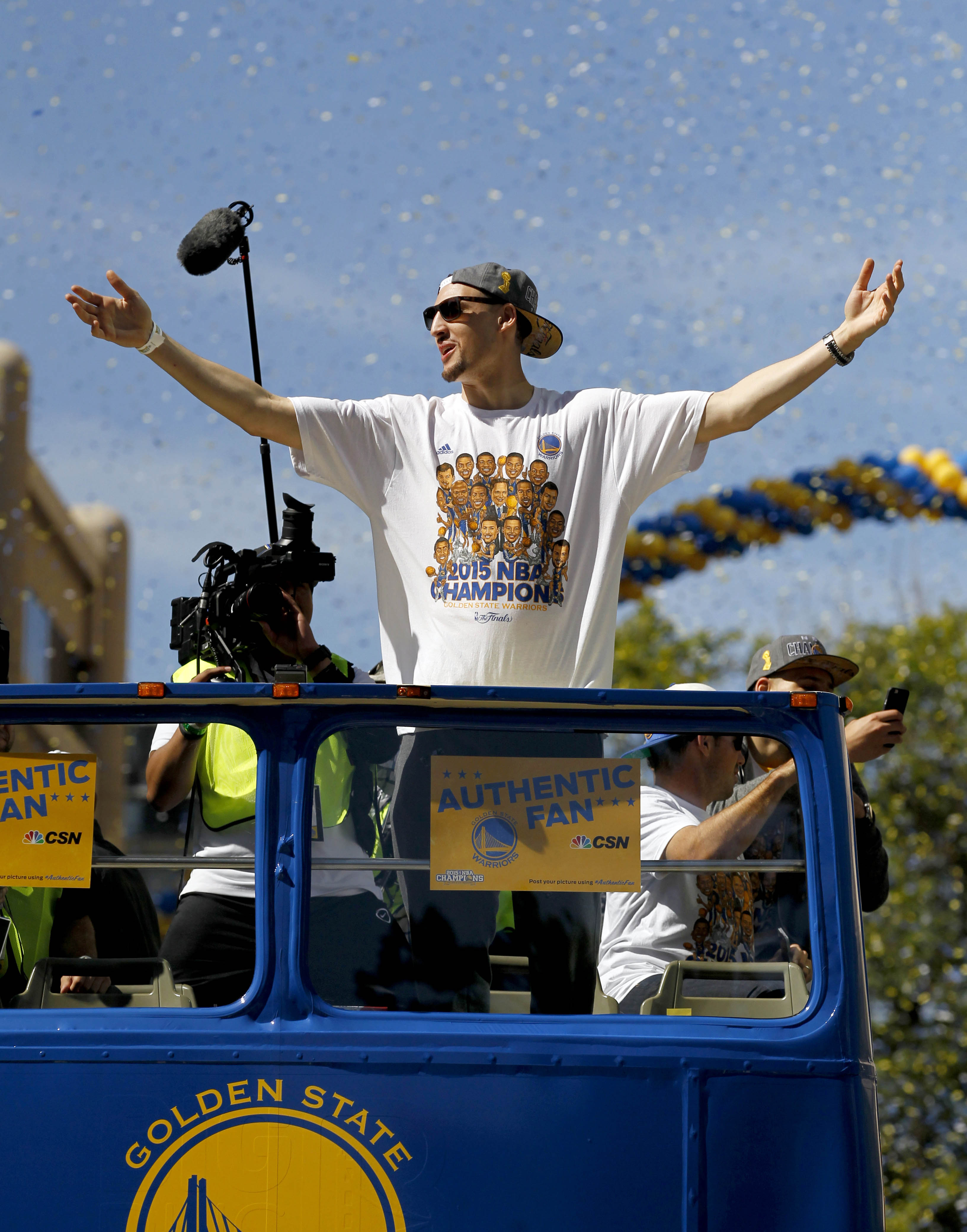 Klay Thompson celebrates after the 2014-2015 NBA Finals.