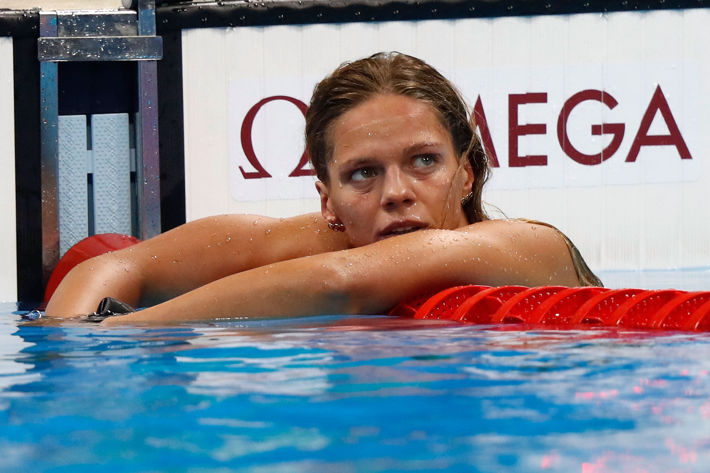 Yulia Efimova of Russia reacts after the Women's 100m Breaststroke final on Day 3 of the Rio 2016 Olympic Games at the Olympic Aquatics Stadium on August 8, 2016 in Rio de Janeiro, Brazil.