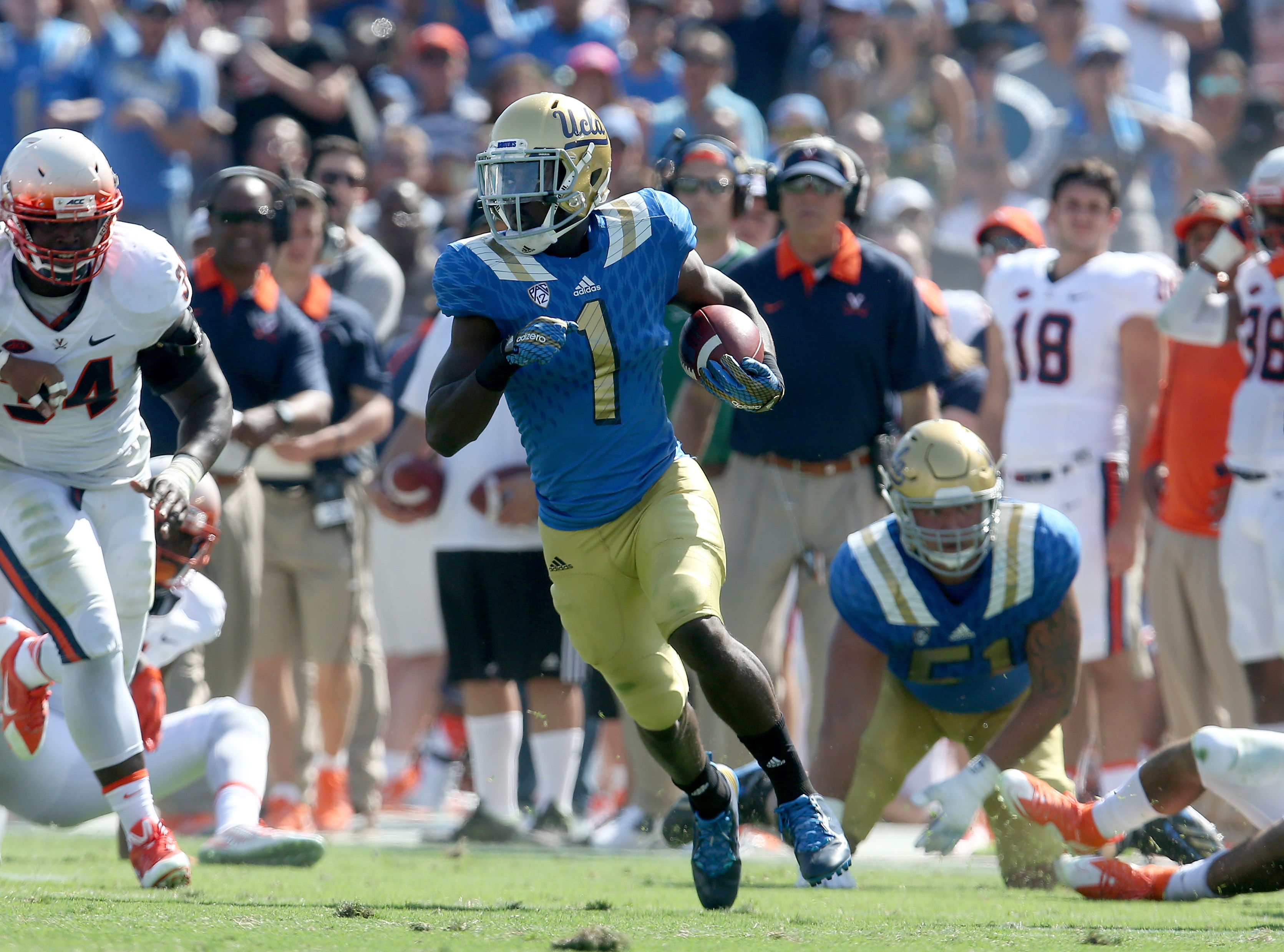 Soso Jamabo runs wild against Virginia last September in his first college football game.