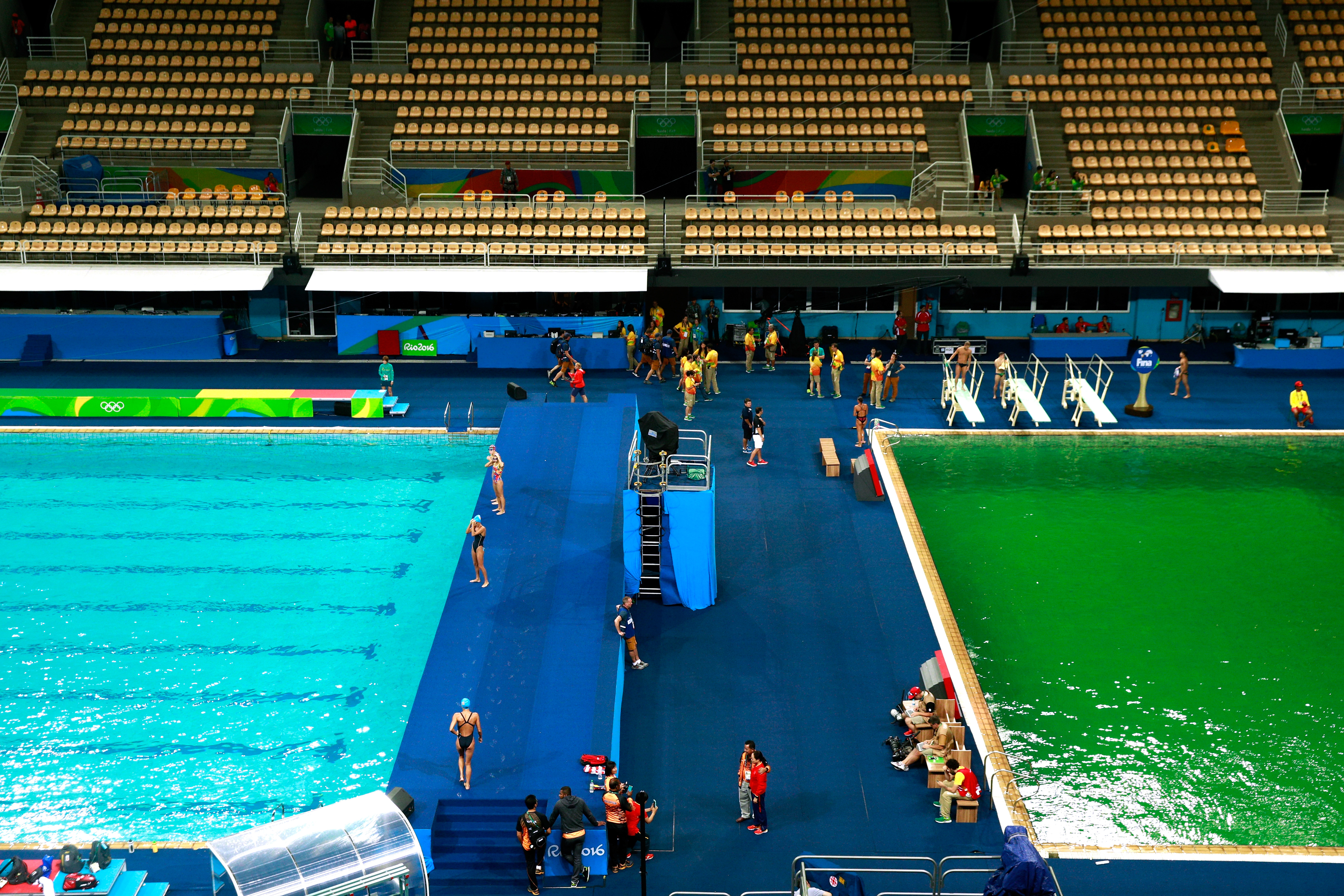 The diving pool at the Olympics is closed after turning green ...