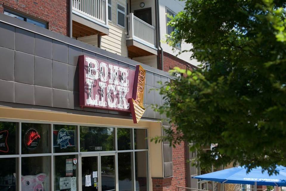 Exterior signage Bone Lick BBQ's Westside location.
