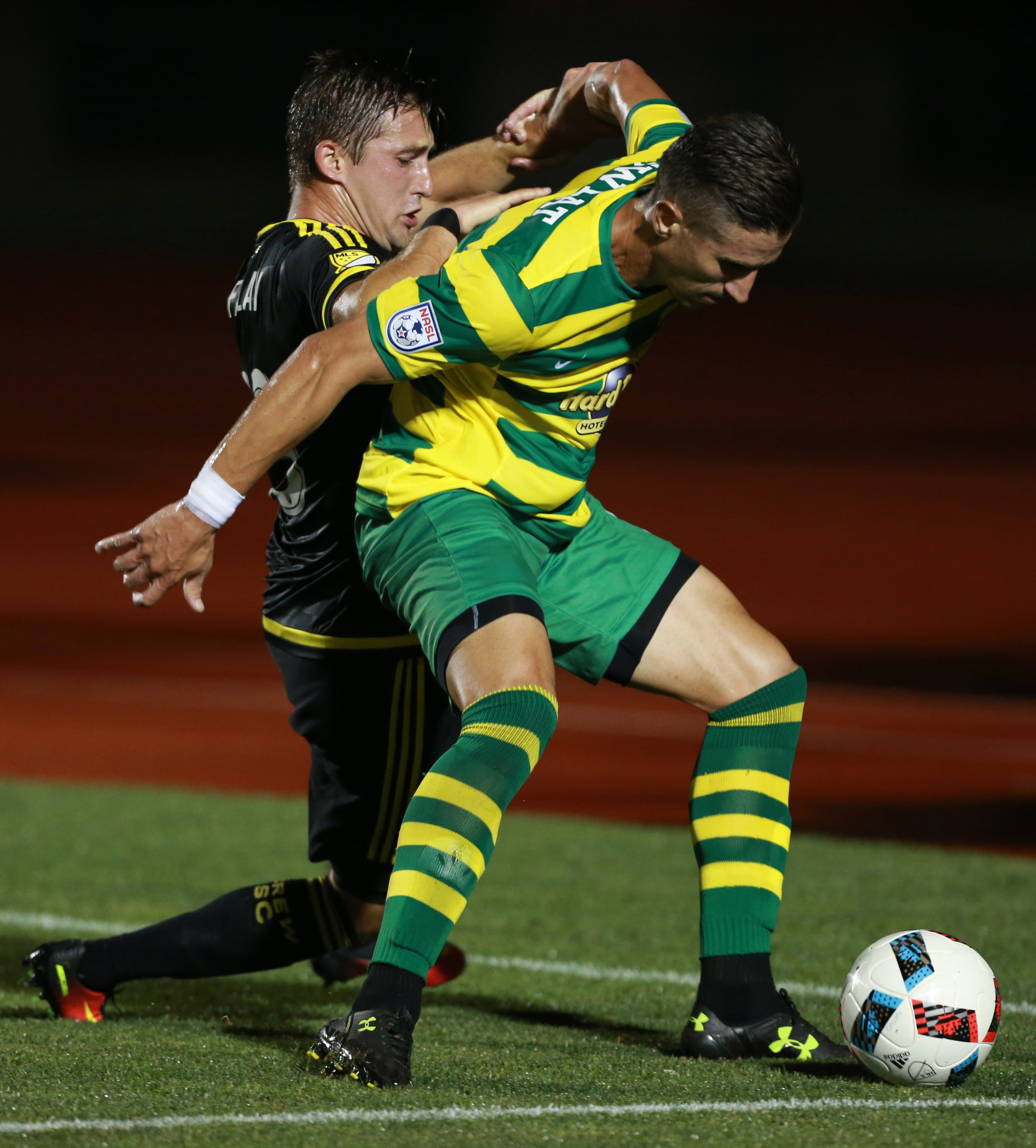 USF alum and Tampa Bay Rowdies defender Ben Sweat in action against Columbus Crew in this year's U.S. Open Cup.