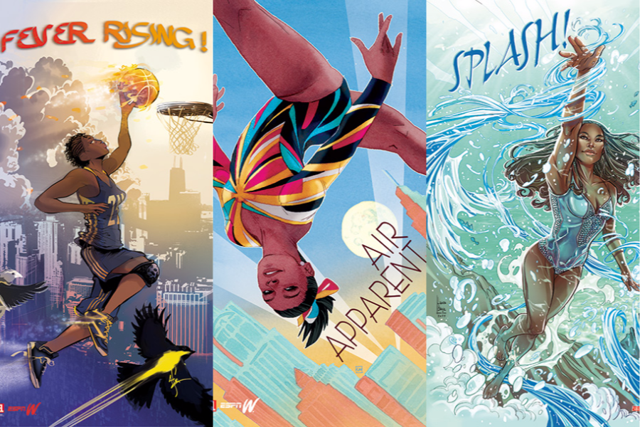 Marvel's portraits of Tamika Catchings, Simone Biles, and Simone Manuel.