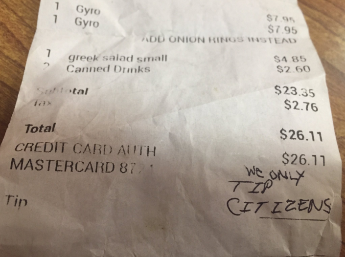 """Receipt that reads """"We only tip citizens"""""""