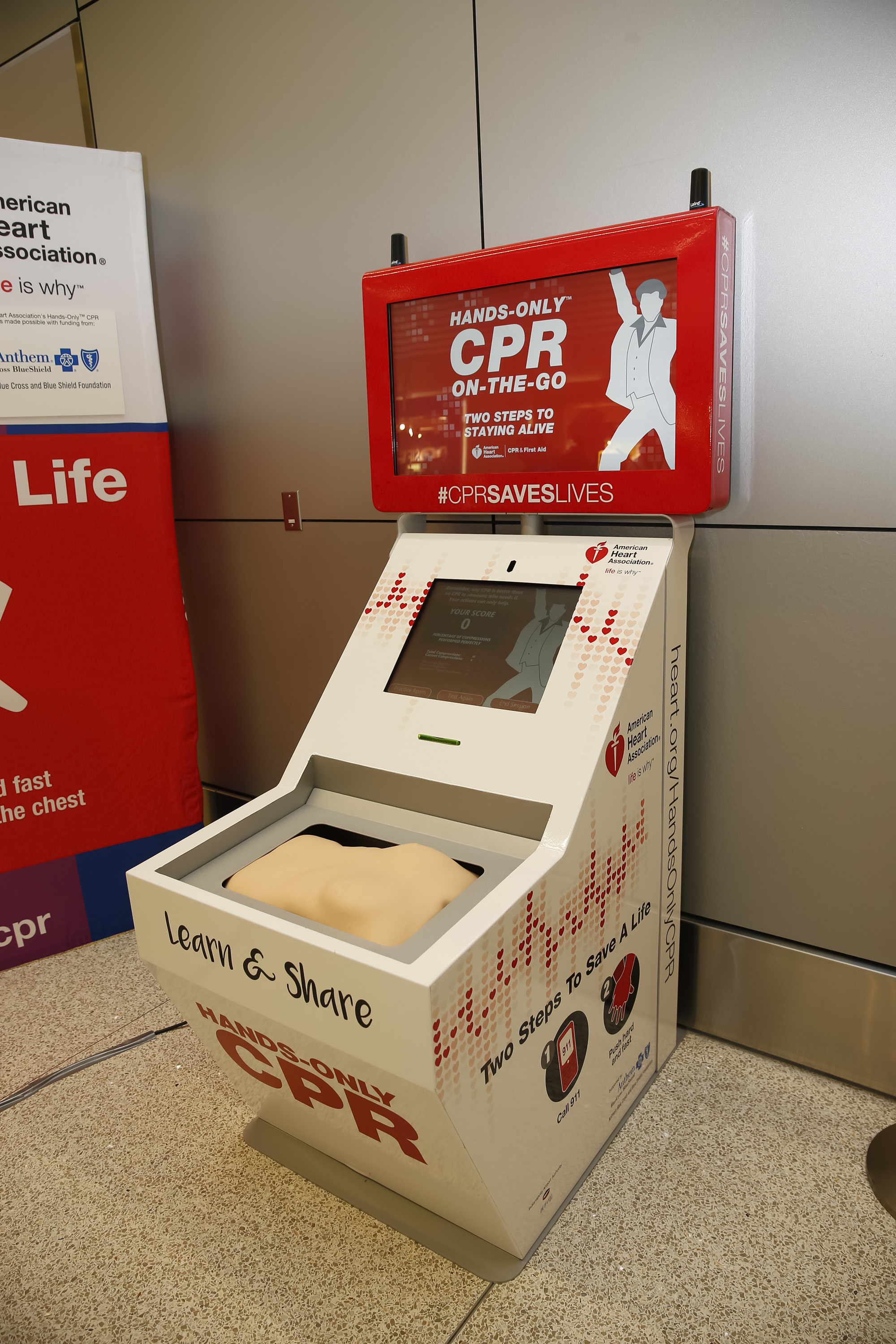 The American Heart Association and Anthem Blue Cross and Blue Shield in Indiana Unveil Hands-Only CPR Training Kiosk at Indianapolis International Airport