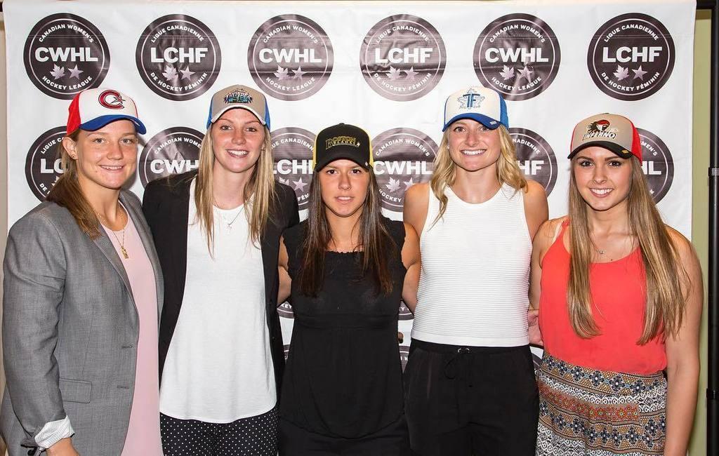 The 2016 CWHL Draft first round picks: Sarah Lefort, Laura Stacey, Kayla Tutino, Renata Fast and Emerance Maschmeyer.