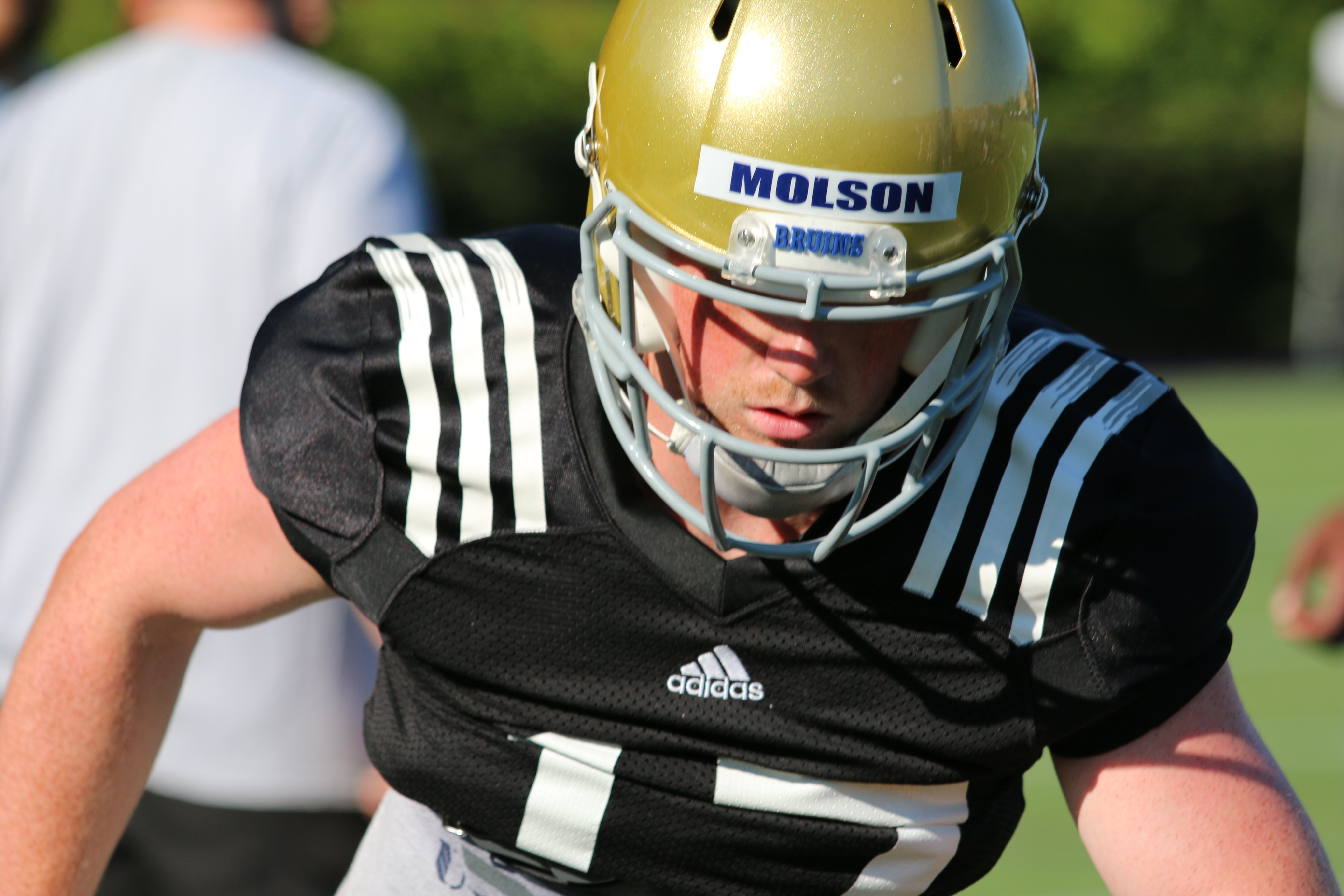 JJ Molson works on his technique during Fall Camp in Westwood.