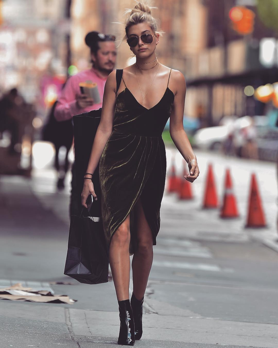 Hailey Baldwin wears a green velvet dress by Vatanika.