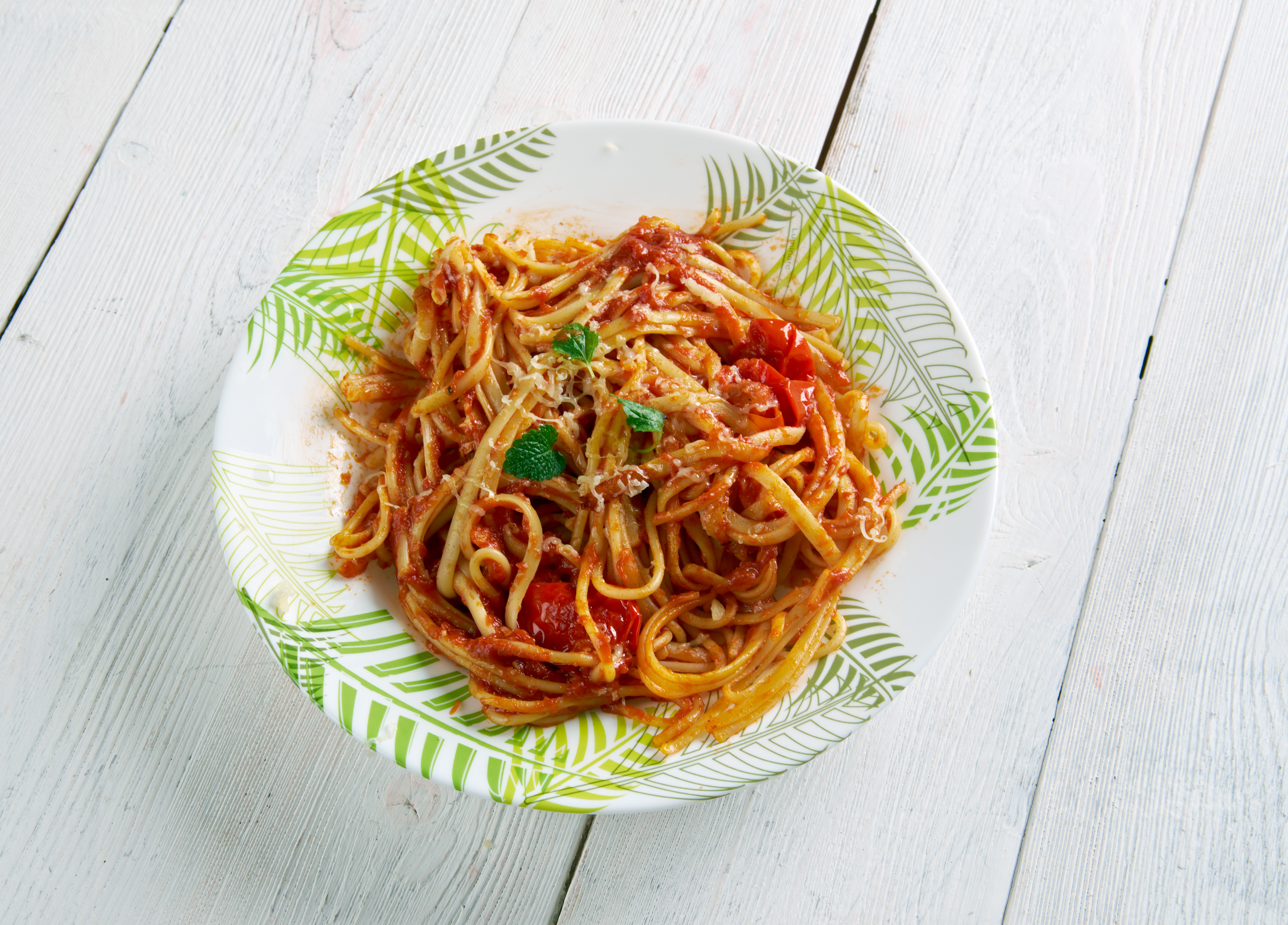A dish of spaghetti all'Amatriciana