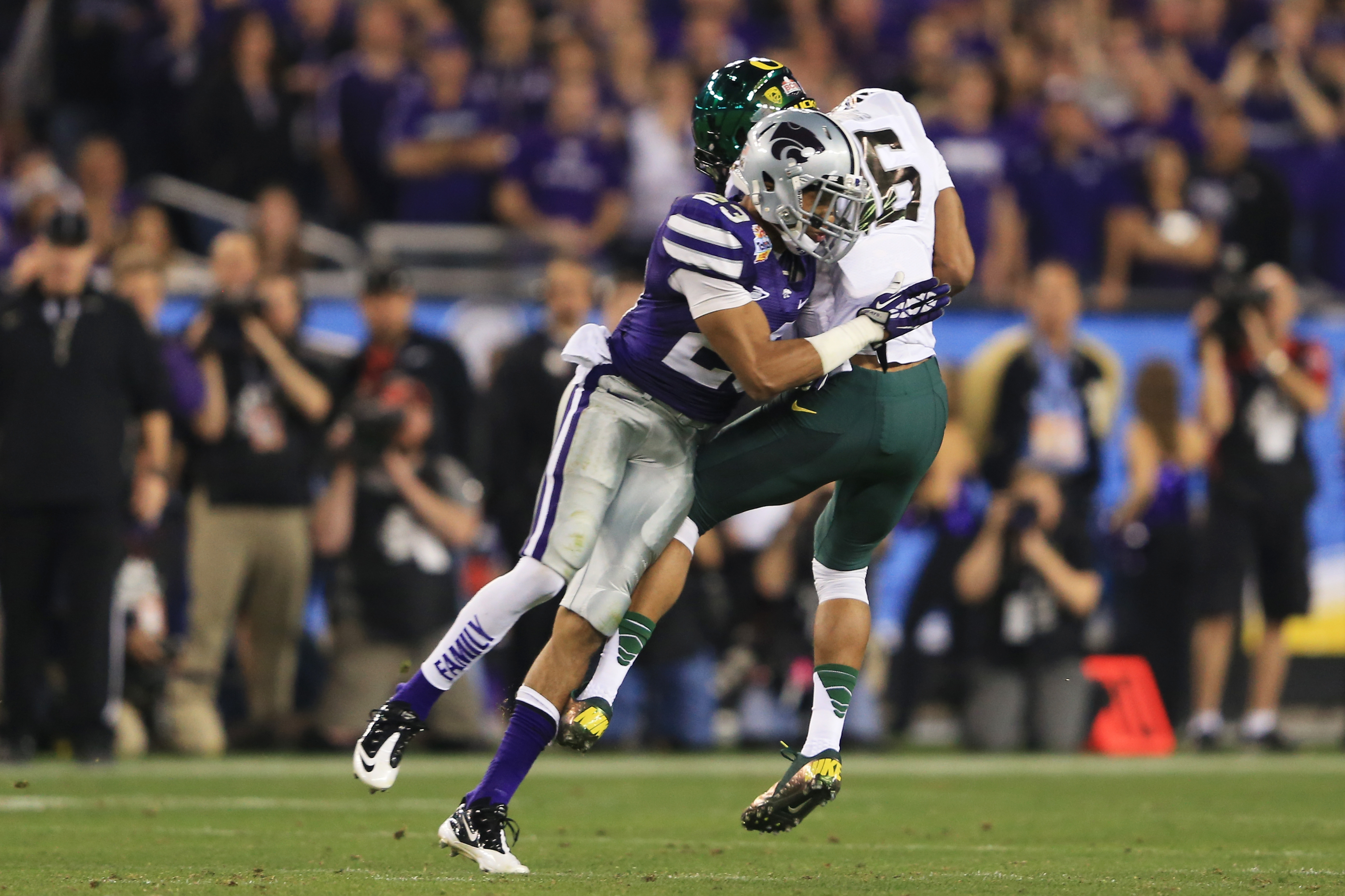 Now that he has converted to safety, Denzel Goolsby is primed to follow in the footsteps of his cousin, Jarard Milo, who started in 2012 for the Big 12 Championship team.