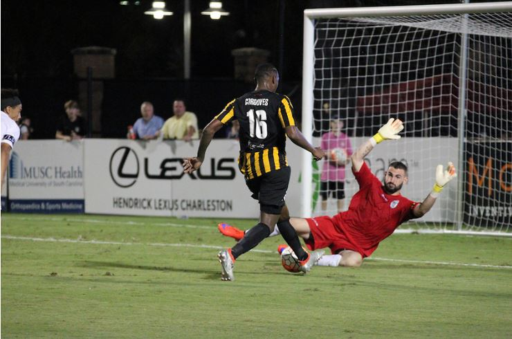 Tomas Gomez made a number of important saves on Saturday night, including smothering this chance by Heviel Cordoves