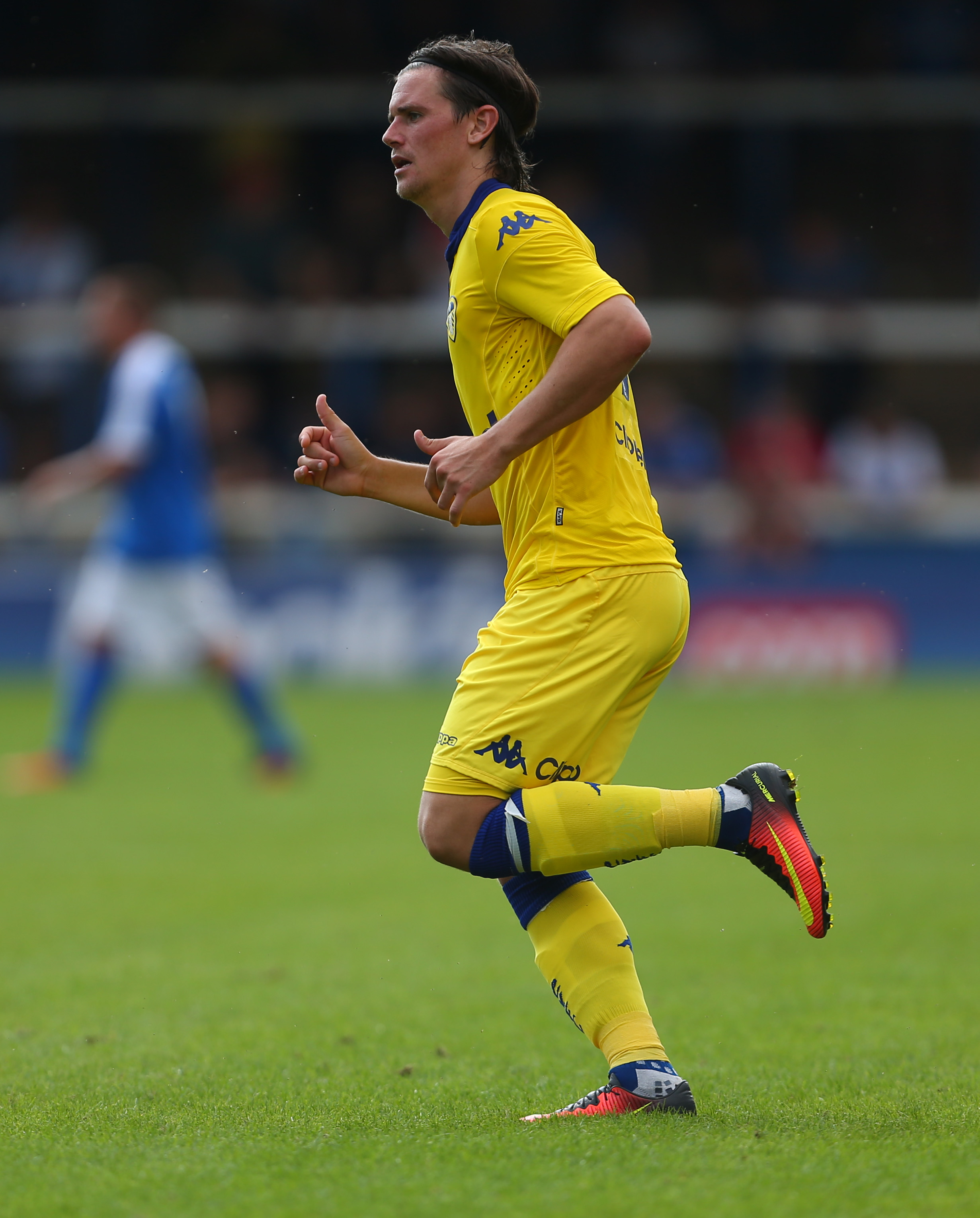 PETERBOROUGH, ENGLAND - JULY 23: Marcus Antonsson of Leeds United during the Pre-Season Friendly match between Peterborough United and Leeds United at London Road Stadium on July 23, 2016 in Peterborough, England. ()