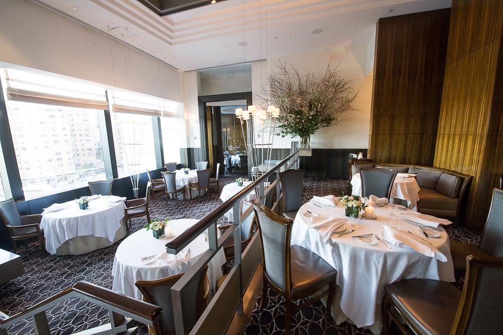 A spacious fine dining restaurant