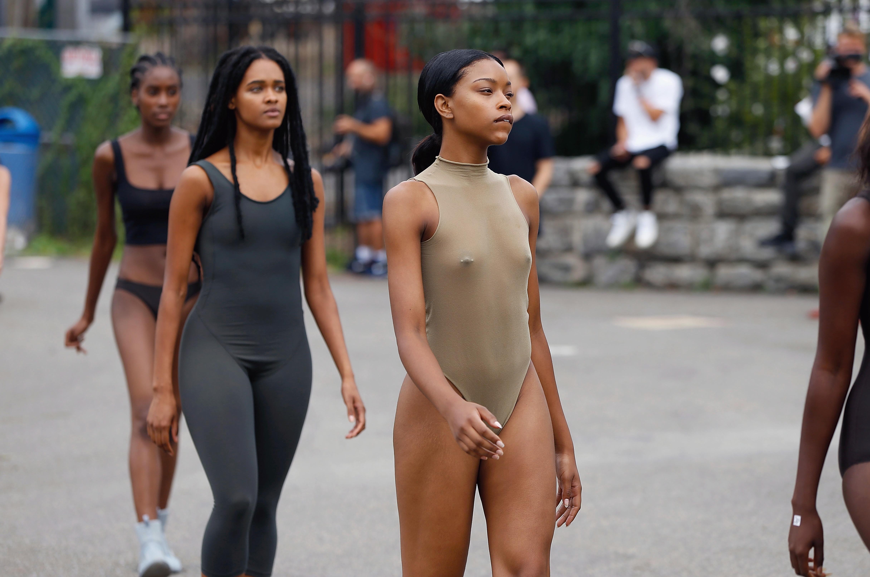 Models during a Yeezy Season 4 walkthrough.