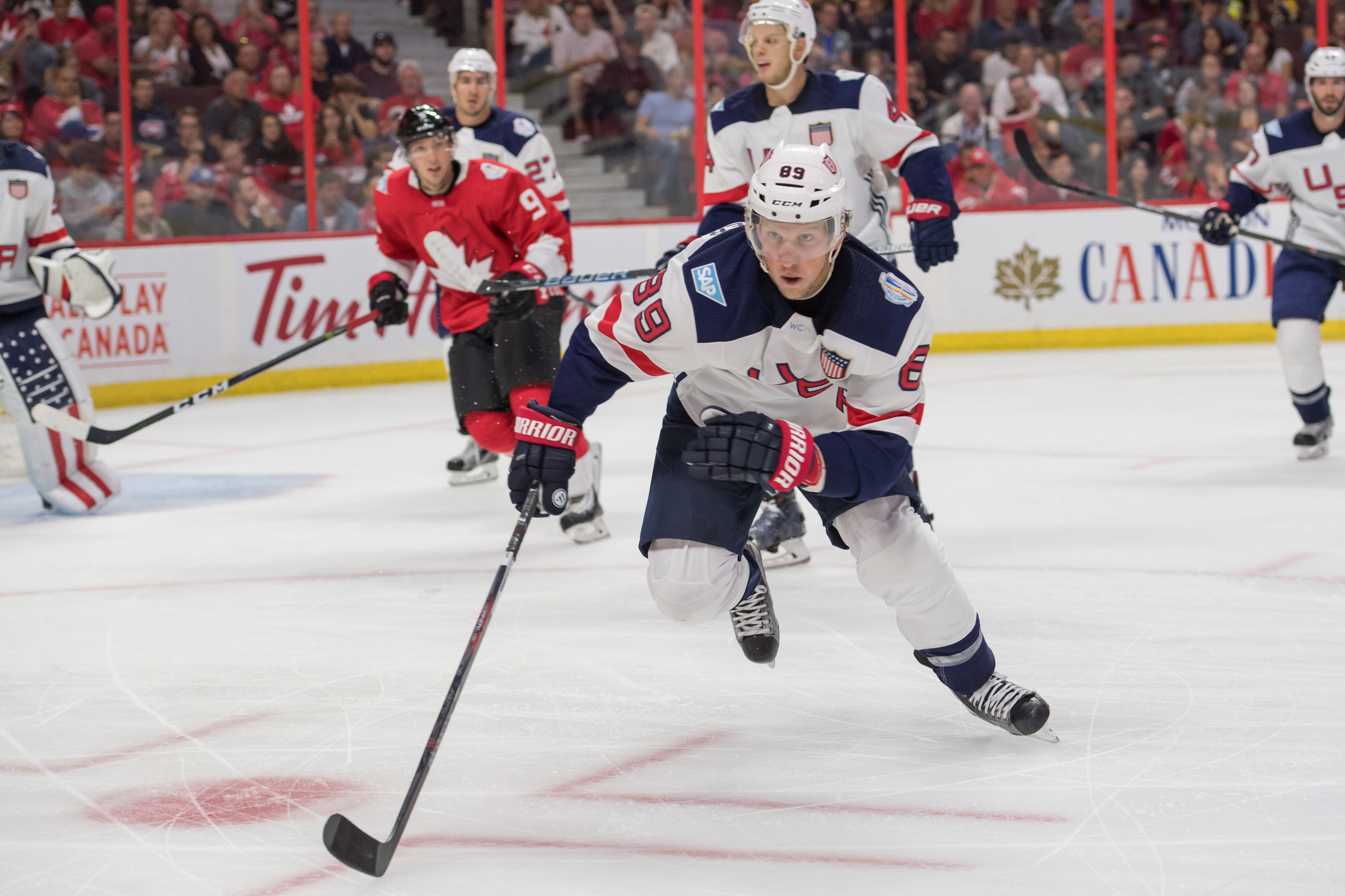 Justin Abdelkader races to commit another penalty