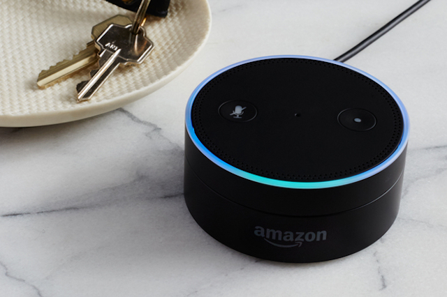An Amazon Echo dot device