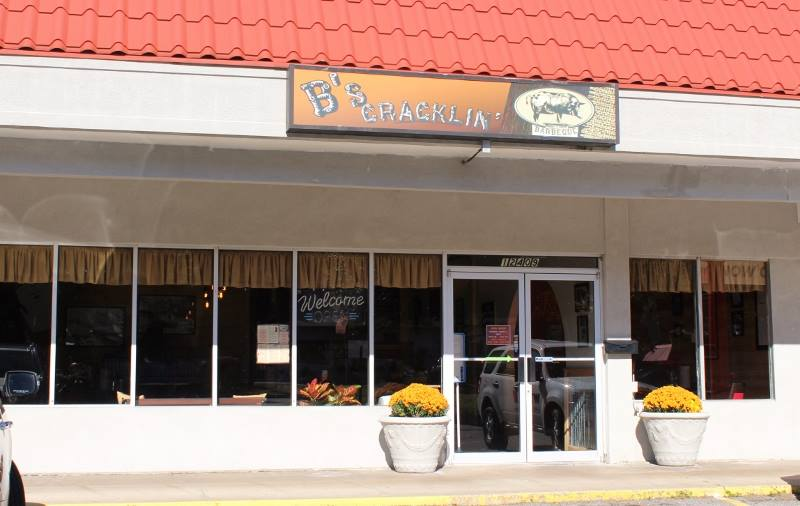 Exterior signage for B's Cracklin' Barbeque in Savannah