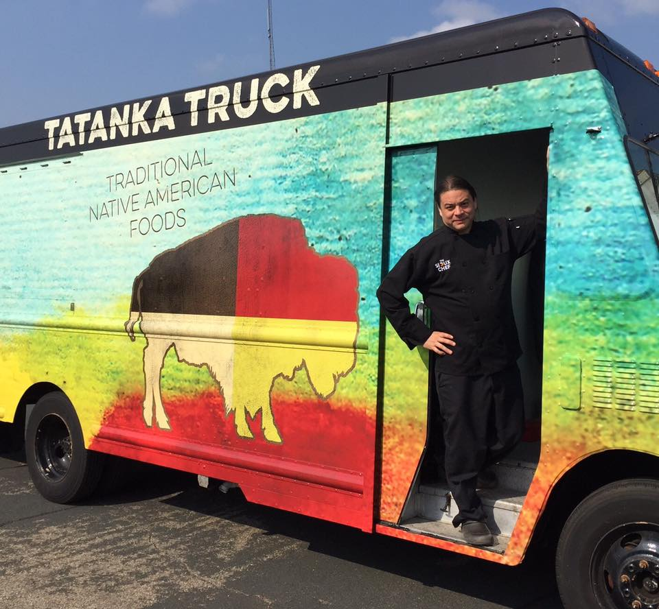 Chef Sean Sherman aboard his food truck, Tatanka Truck