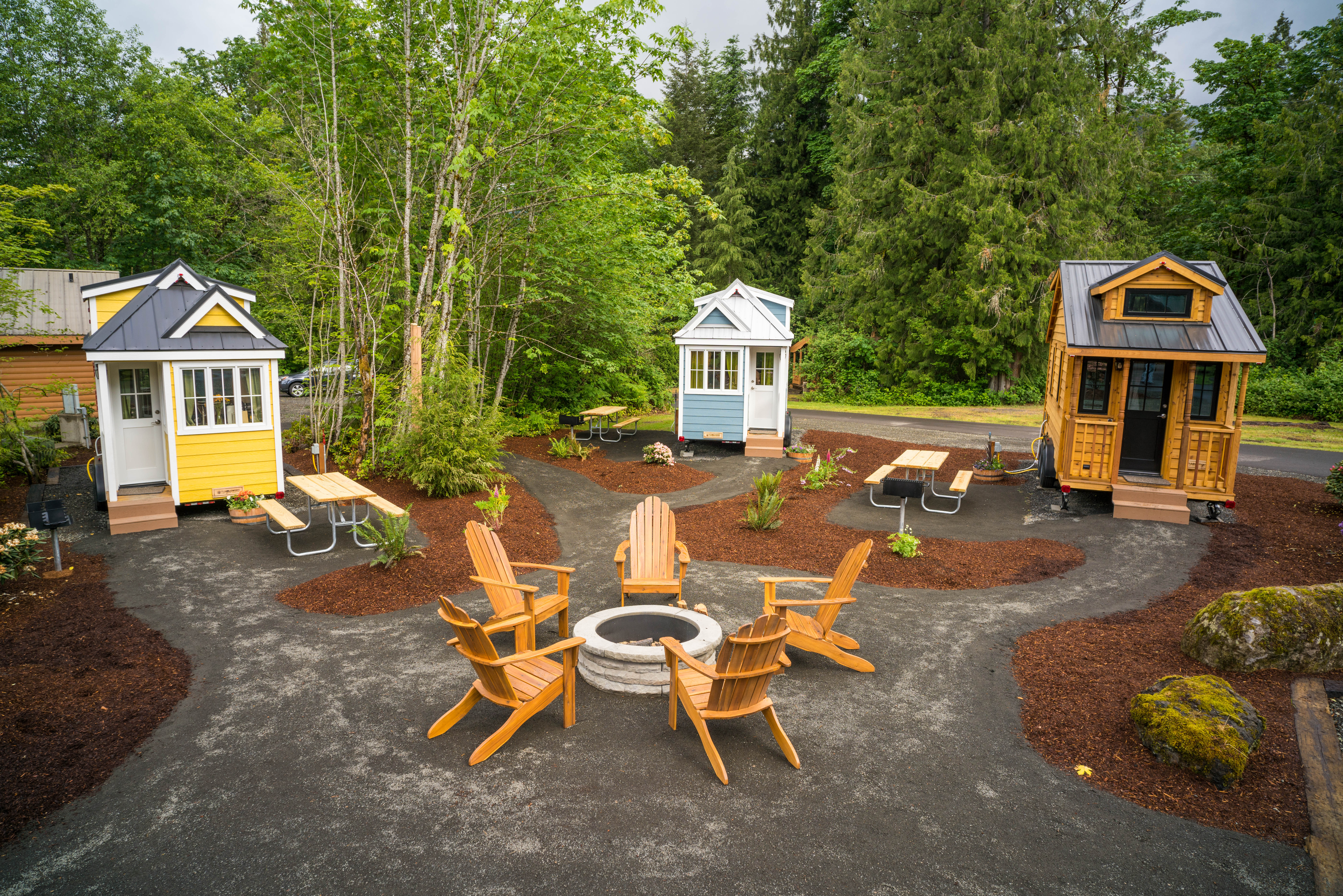 Three tiny homes in a campground in Mt. Hood, Oregon.