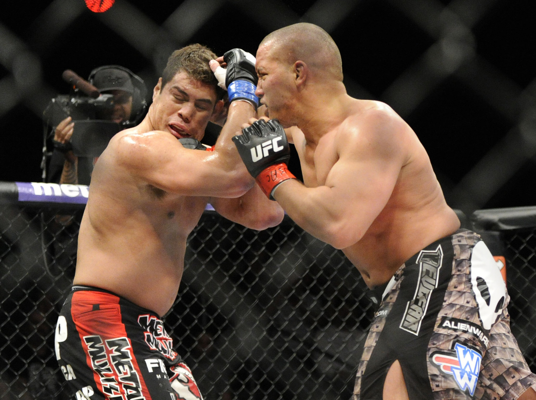 Pat Barry (right) punches Shane Del Rosario (left) at the TUF 16 Finale last night