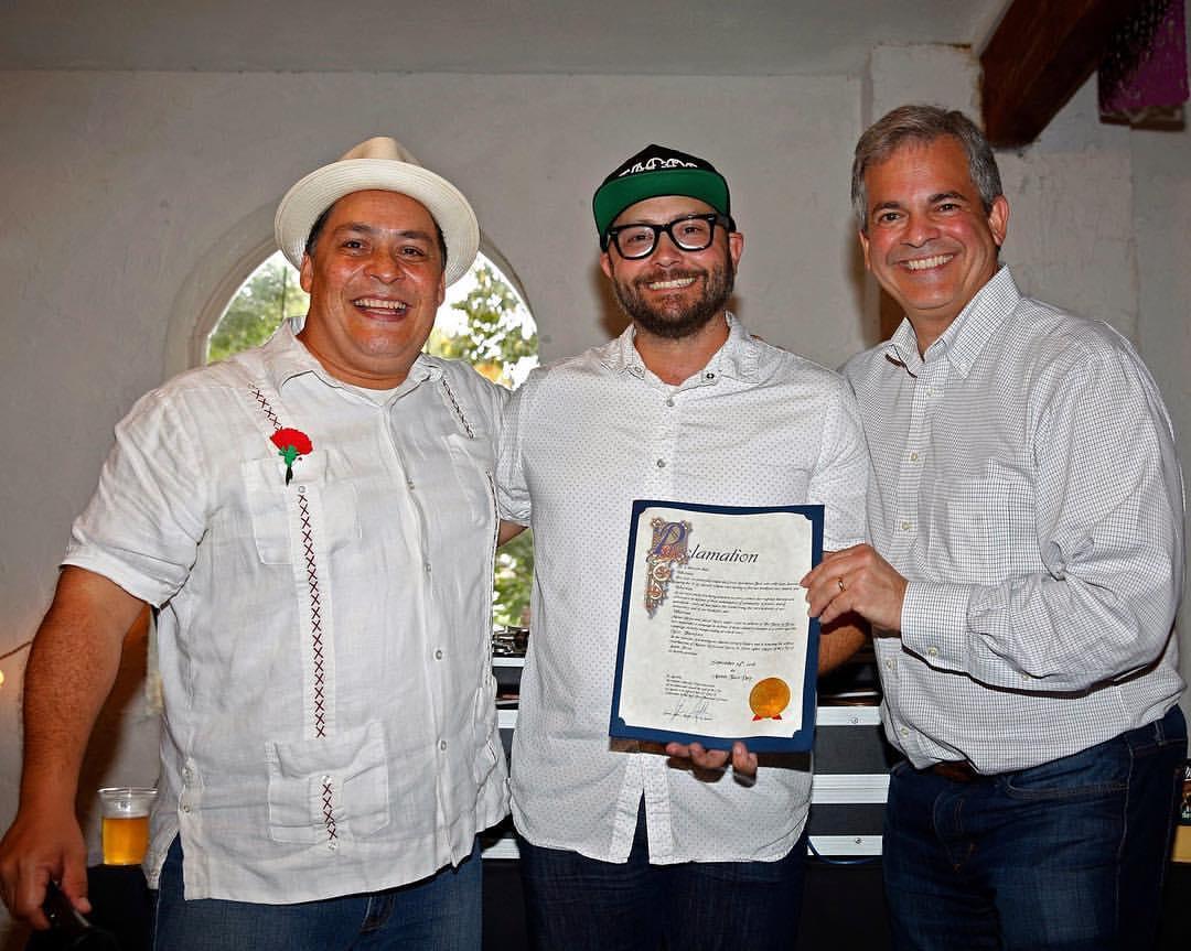 Tacos of Texas authors Mando Rayo and Jardo Neece with Austin mayor Steve Adler