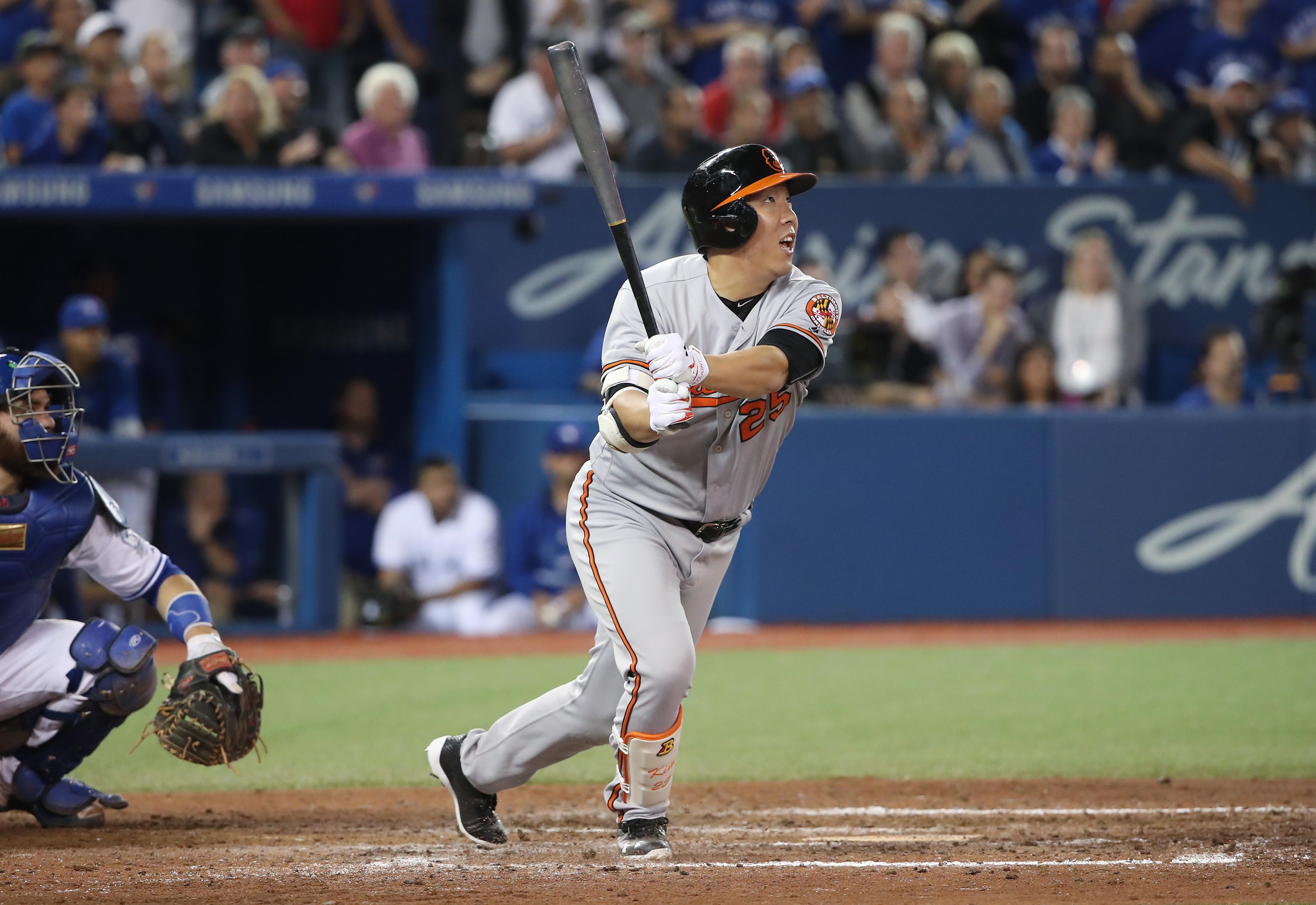 Hyun Soo Kim watches as his go-ahead home run soars towards the Orioles bullpen on Wednesday night.