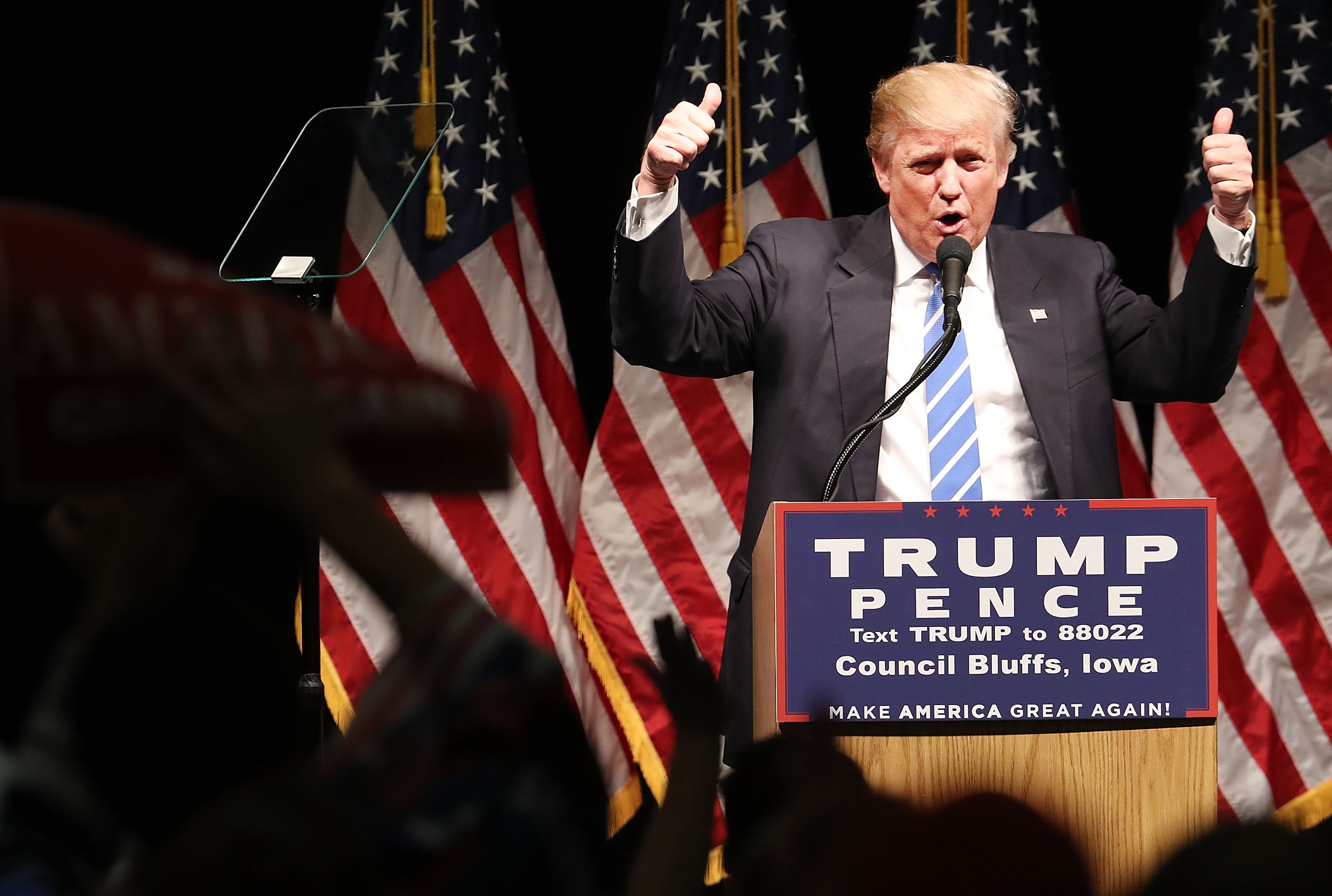 Republican Presidential Candidate Donald Trump Holds Rally In Council Bluffs, Iowa
