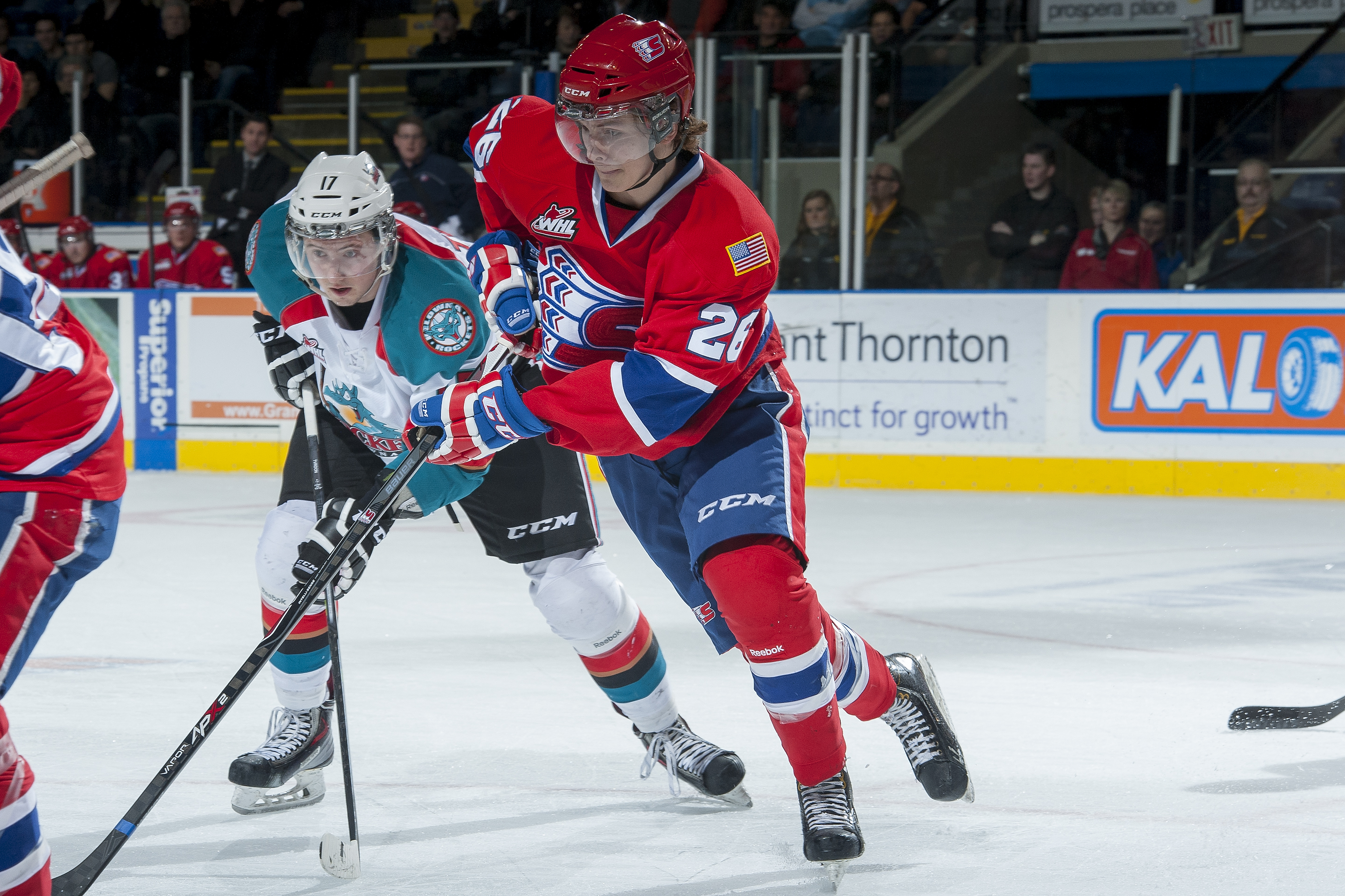 Hudson Elynuik (26) had four points Saturday for the Chiefs.